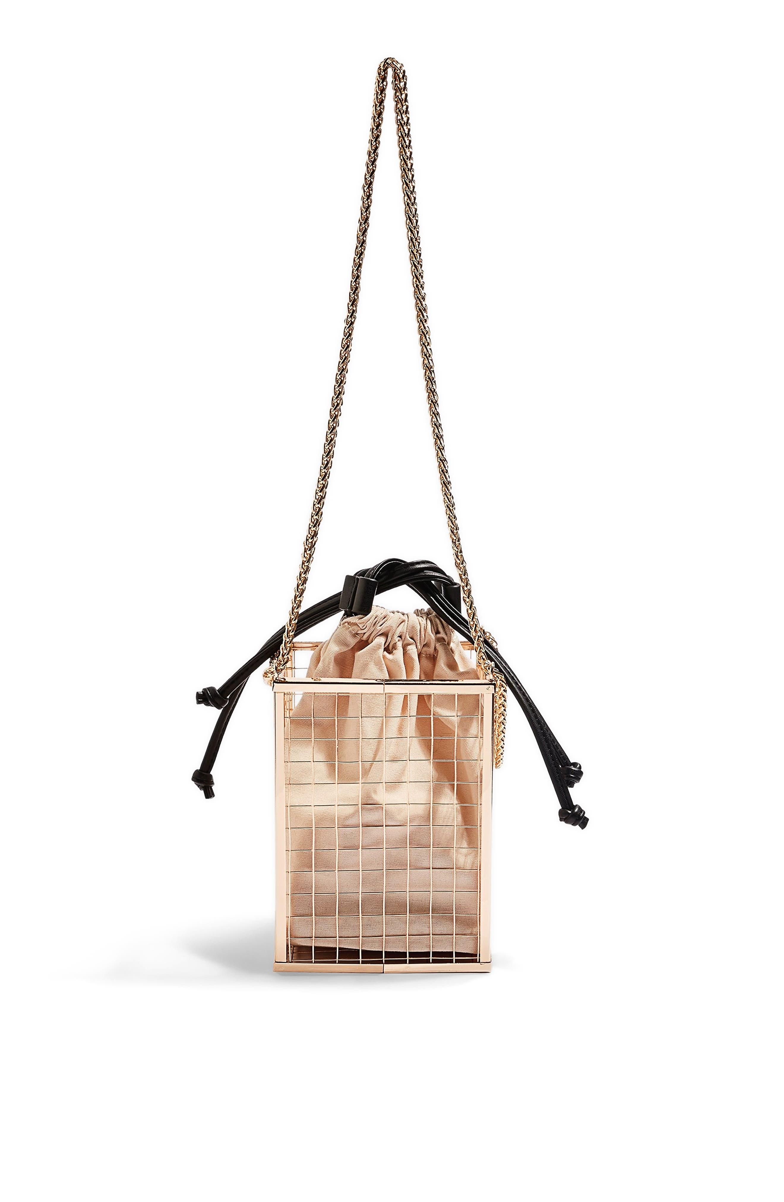 Cara Cage Shoulder Bag, Main, color, GOLD