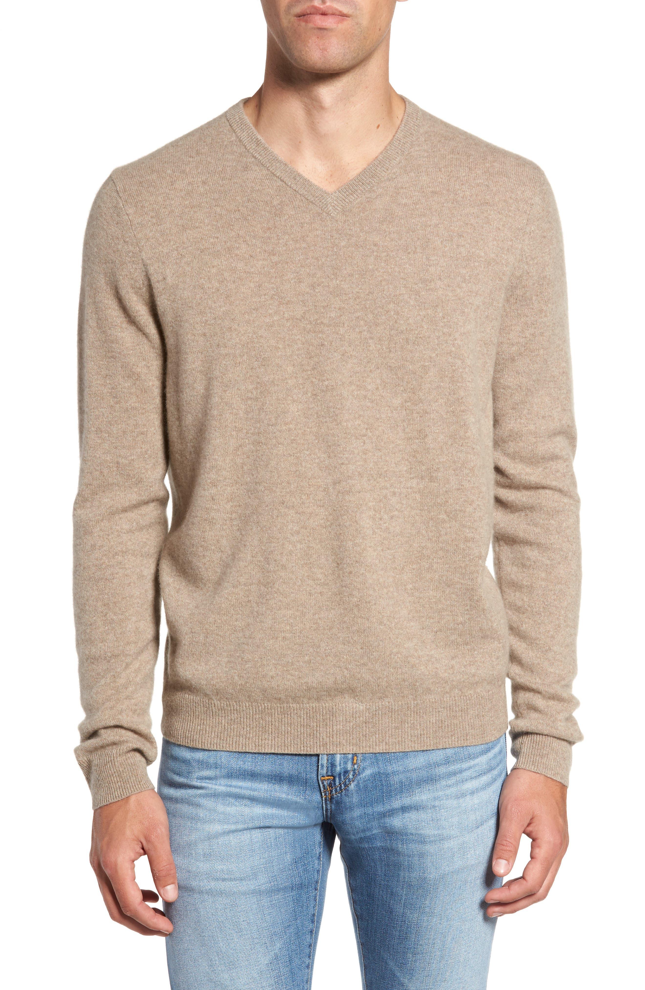 Nordstrom Shop Cashmere V-Neck Sweater, Brown