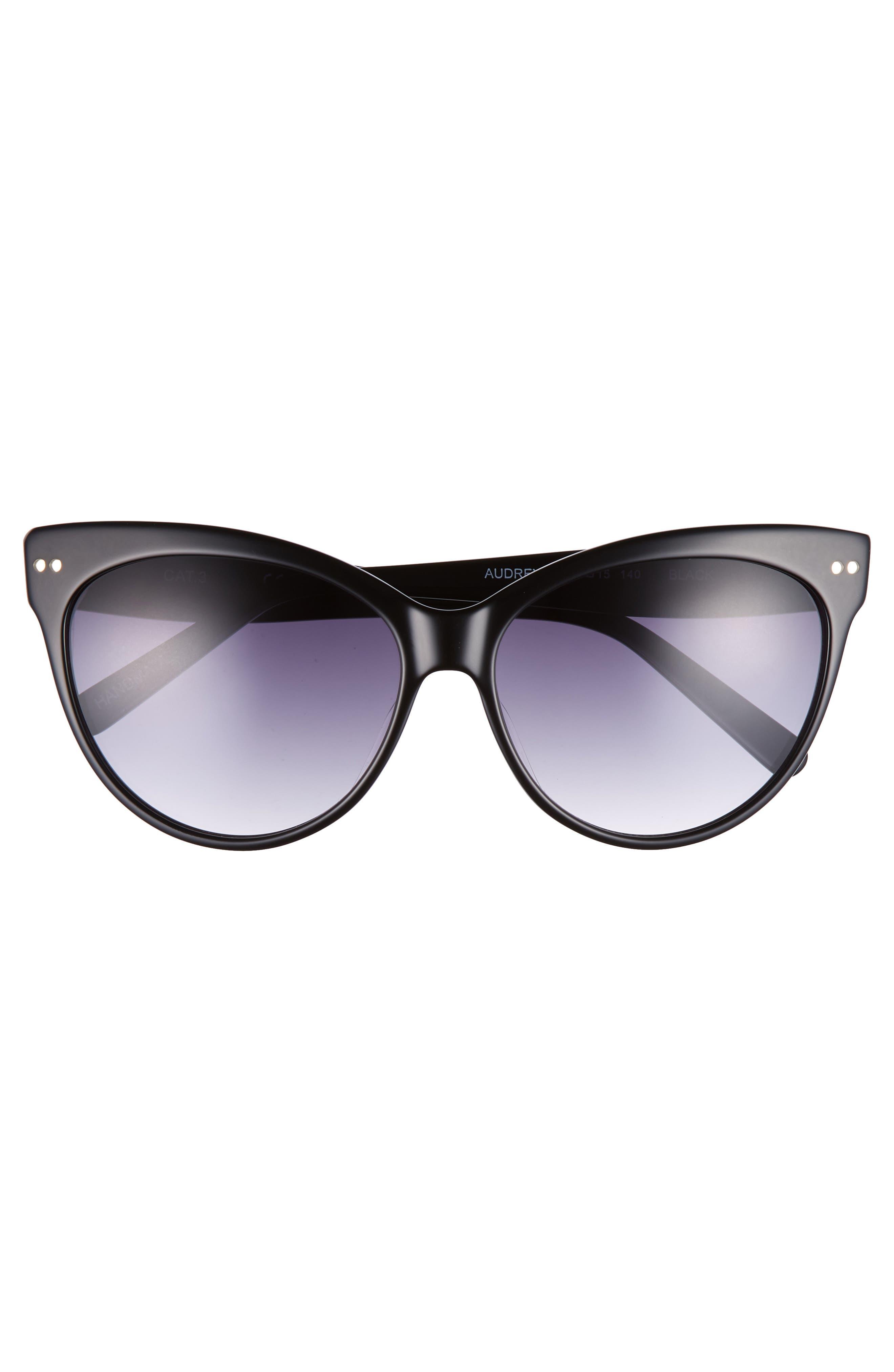 CHELSEA28,                             Audrey 60mm Cat Eye Sunglasses,                             Alternate thumbnail 3, color,                             001
