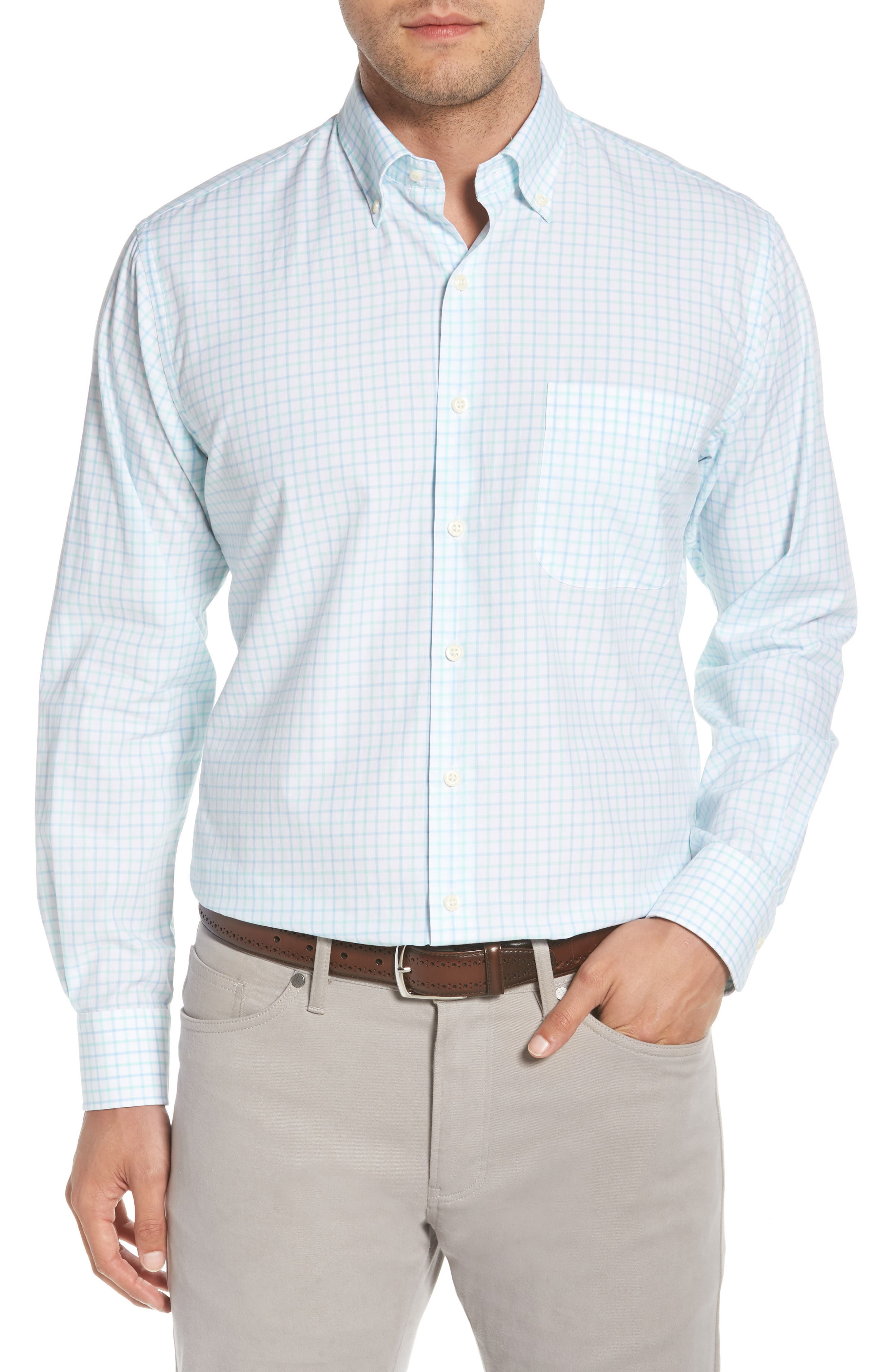 Crown Finish Wetland Tattersall Sport Shirt,                         Main,                         color, 453