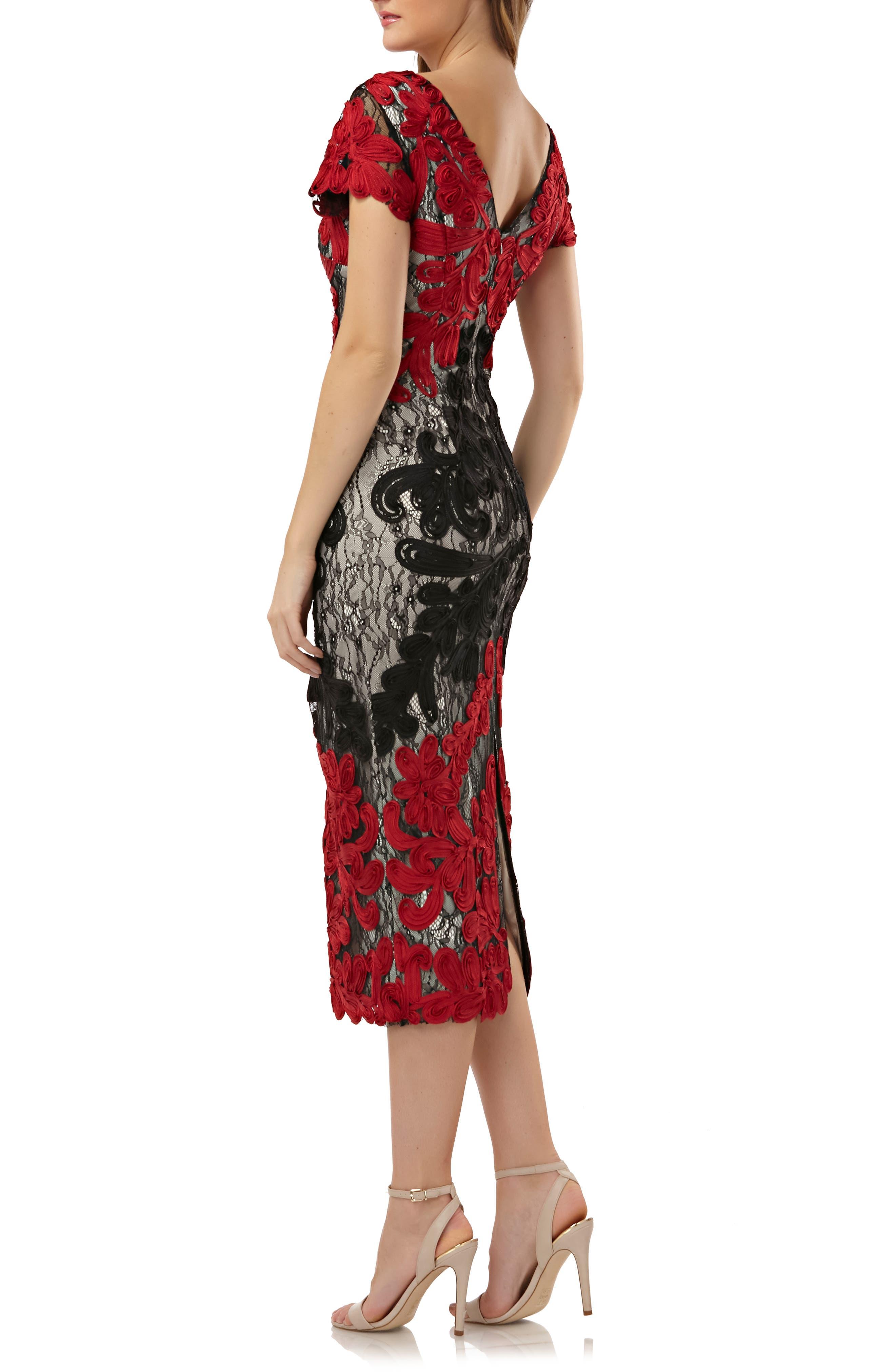 Soutache Lace Midi Dress,                             Alternate thumbnail 2, color,                             RED/ BLACK