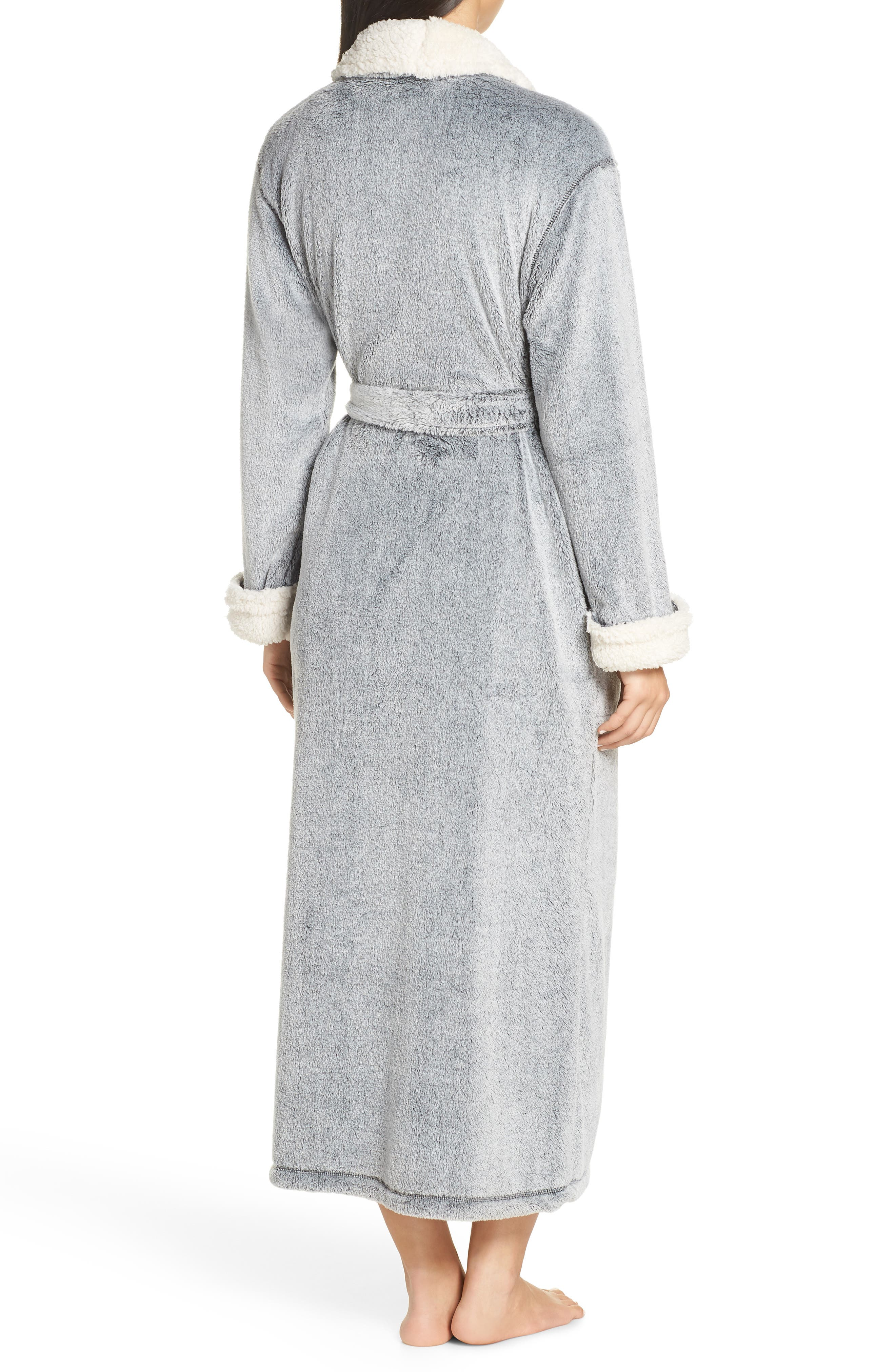 Plush Velour Robe,                             Alternate thumbnail 2, color,                             BLACK