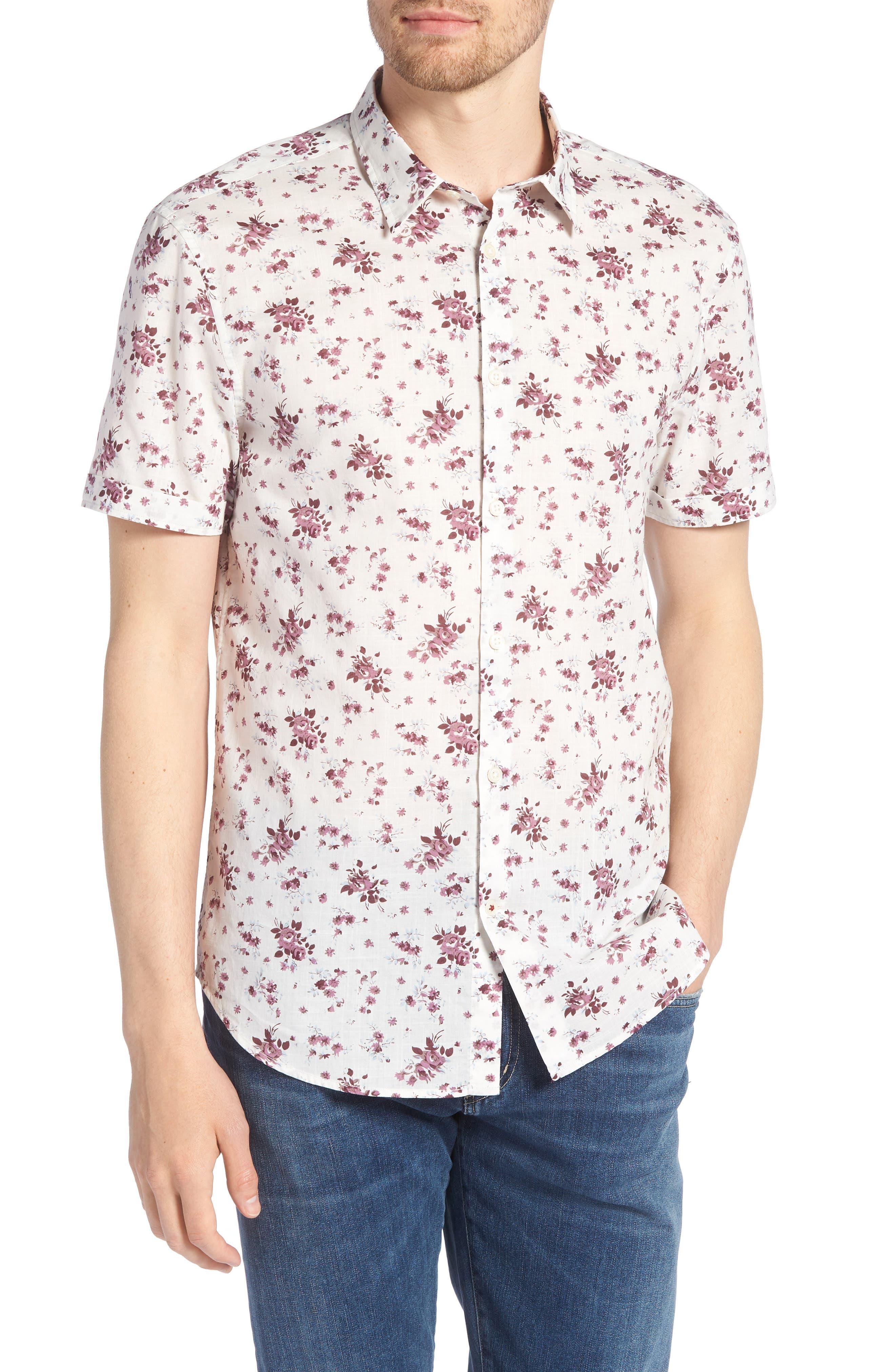 Regular Fit Floral Woven Shirt,                         Main,                         color, ANTIQUE ROSE
