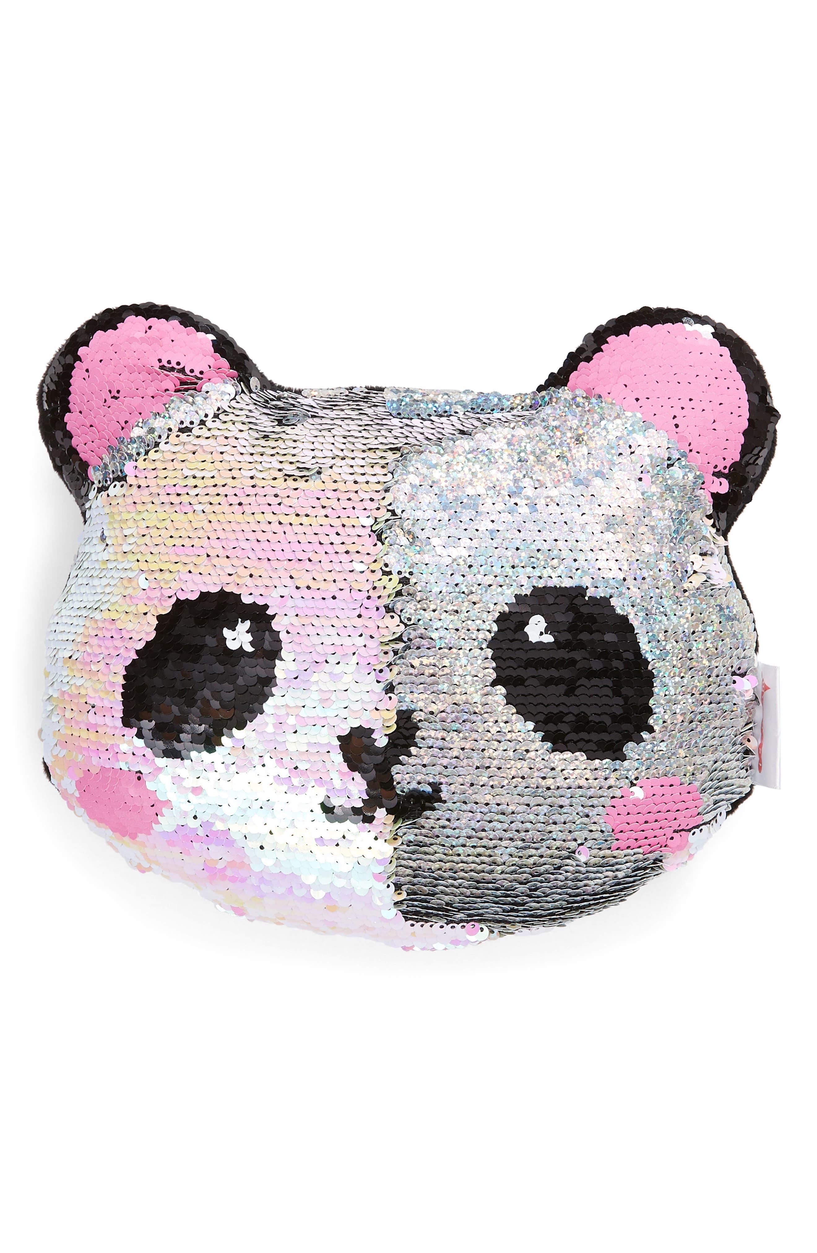 ISCREAM,                             Mini Panda Flip Sequin Accent Pillow,                             Alternate thumbnail 4, color,                             040