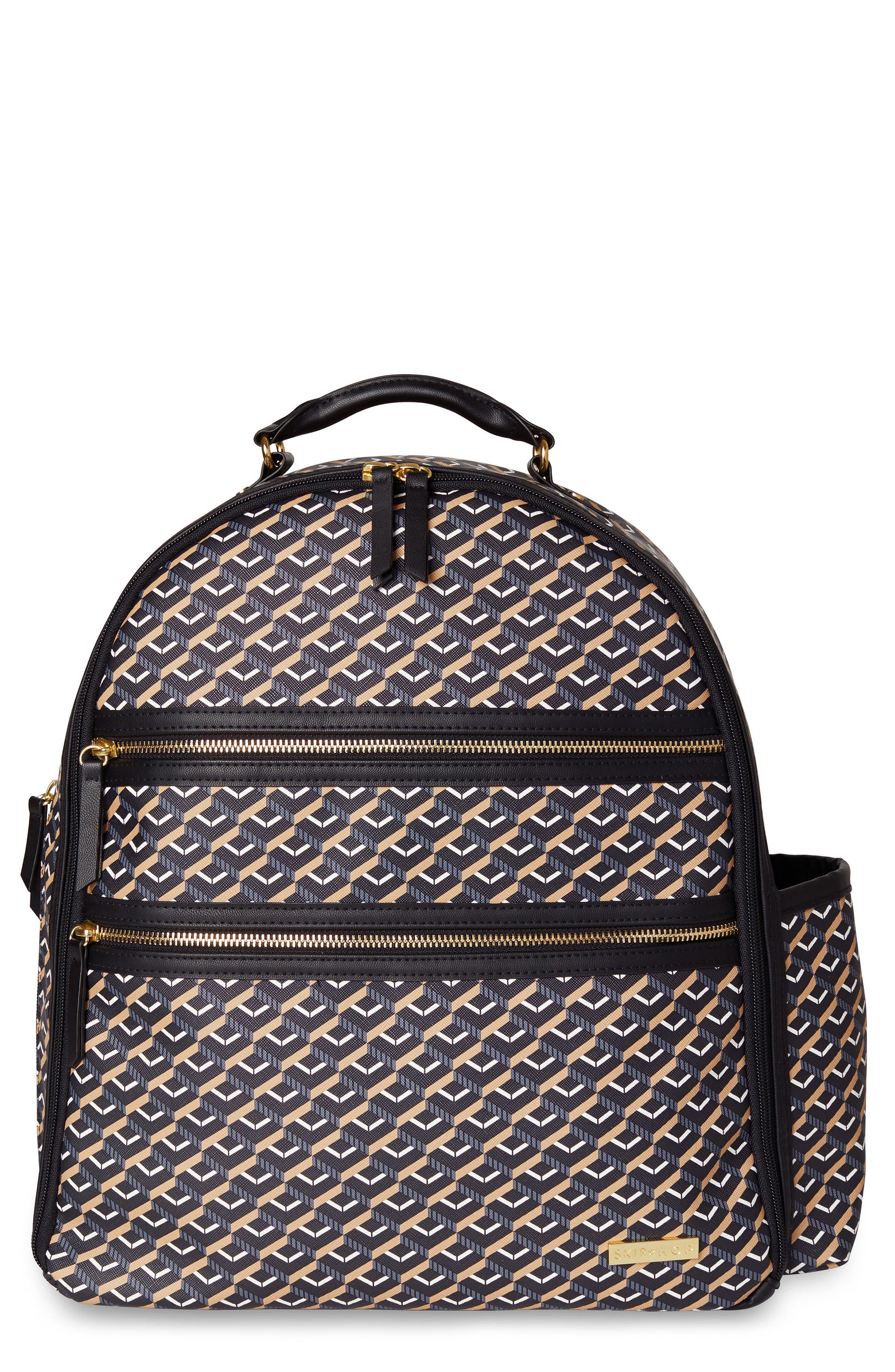 Saffiano Diaper Backpack,                             Main thumbnail 1, color,                             DECO BLACK