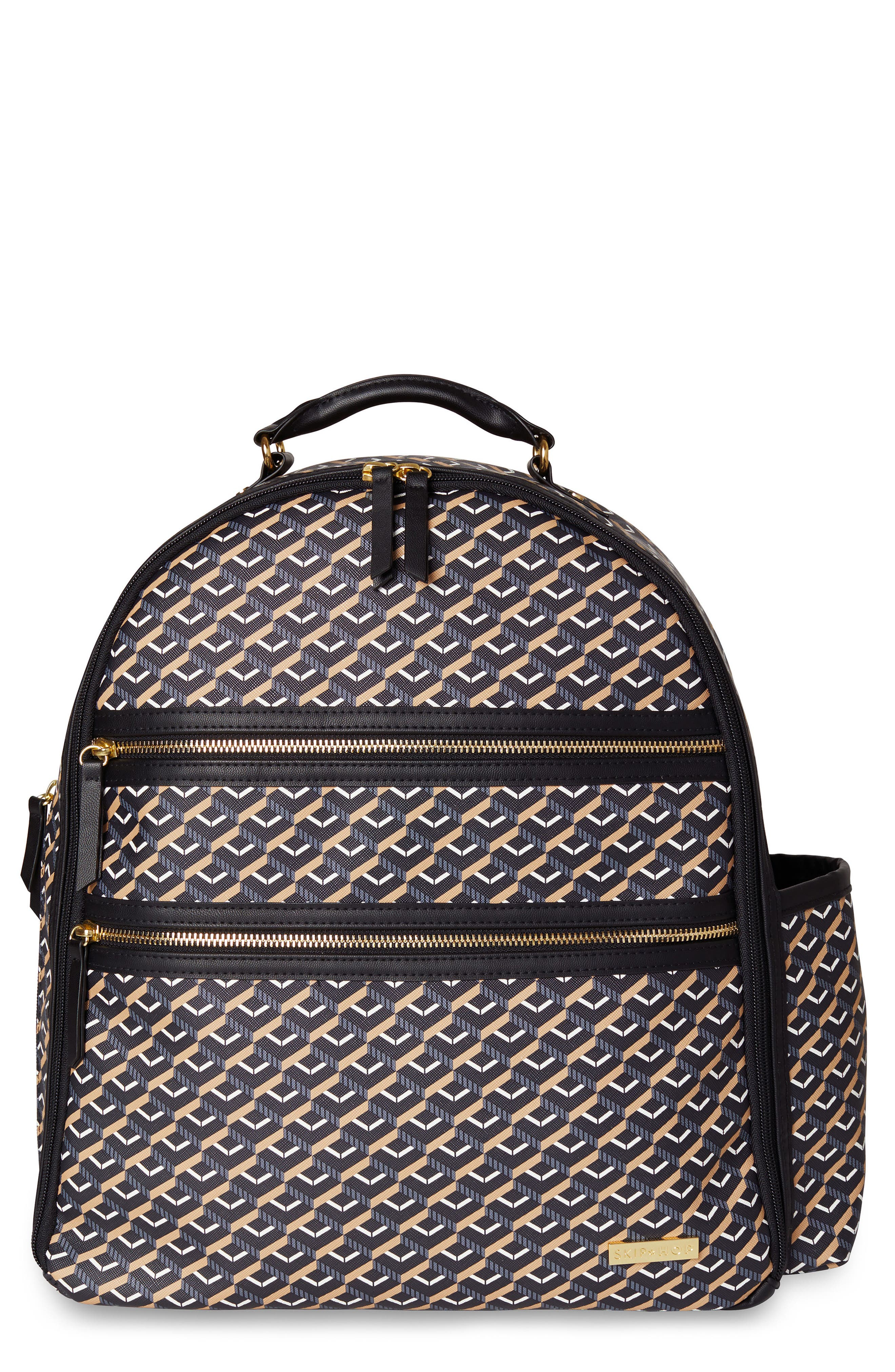 Saffiano Diaper Backpack,                         Main,                         color, DECO BLACK
