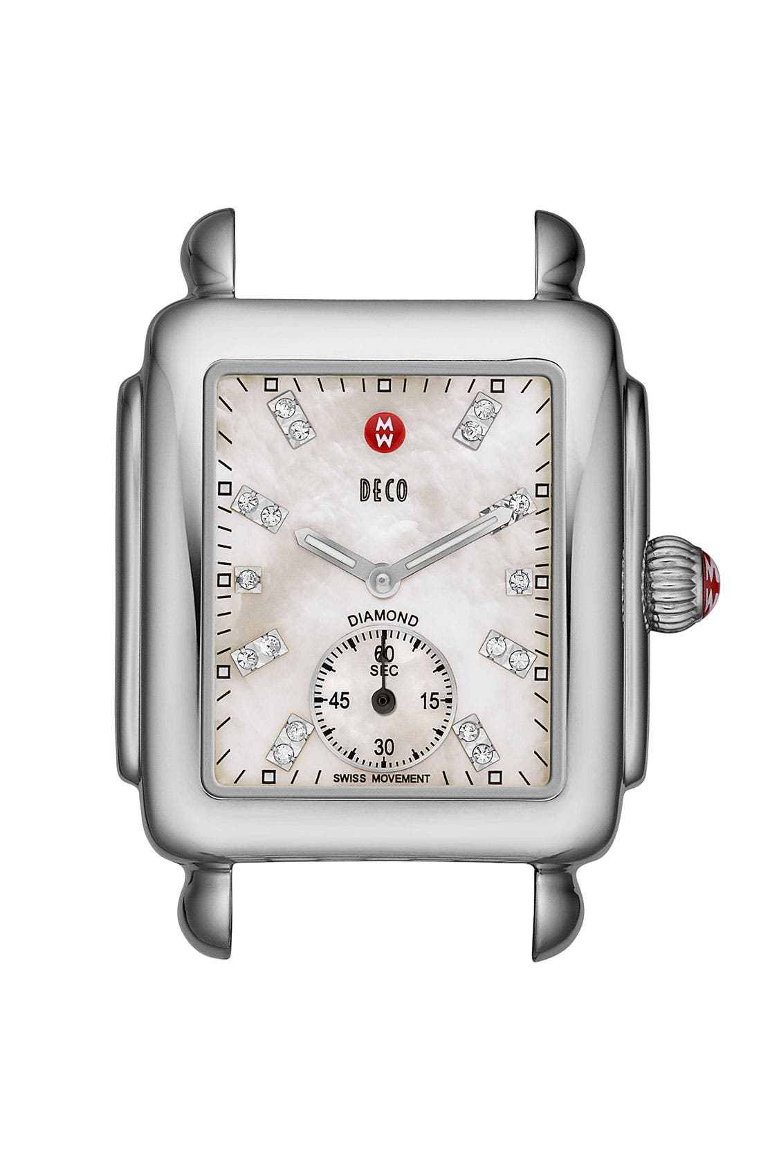Deco 16 Diamond Dial Watch Head, 29mm x 31mm,                             Main thumbnail 1, color,                             SILVER