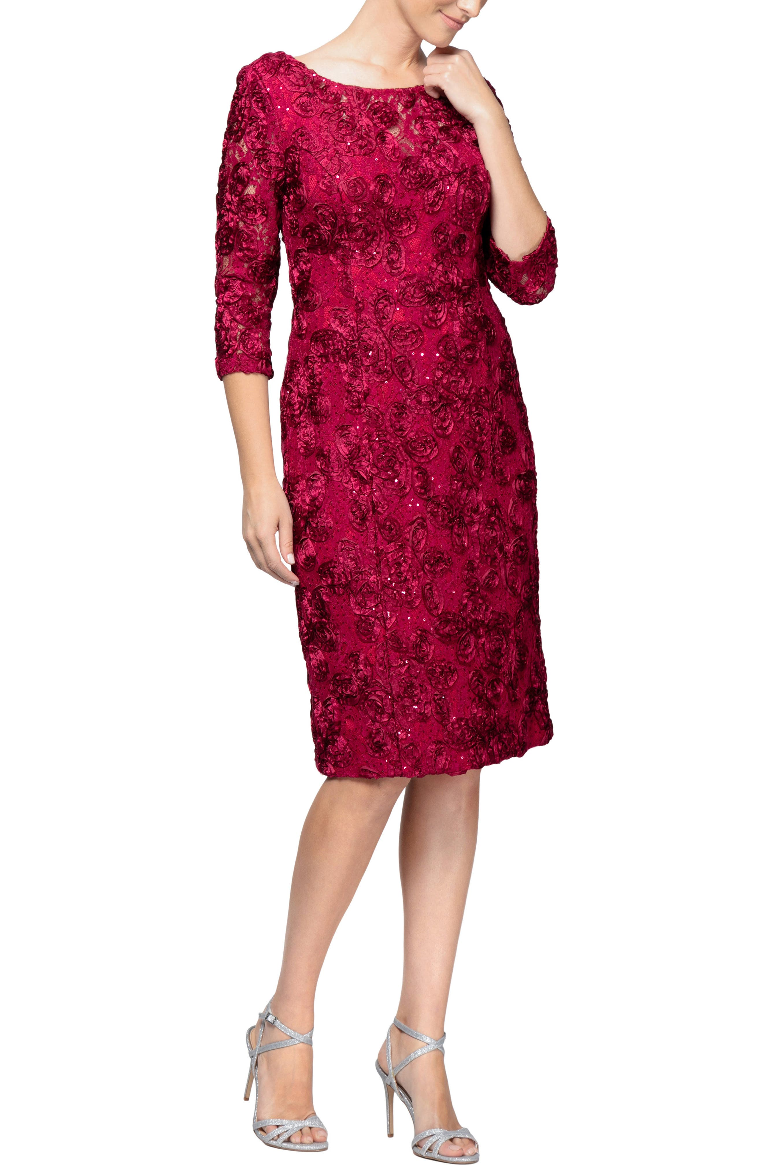 Rosette Shift Dress,                         Main,                         color, CHERRY