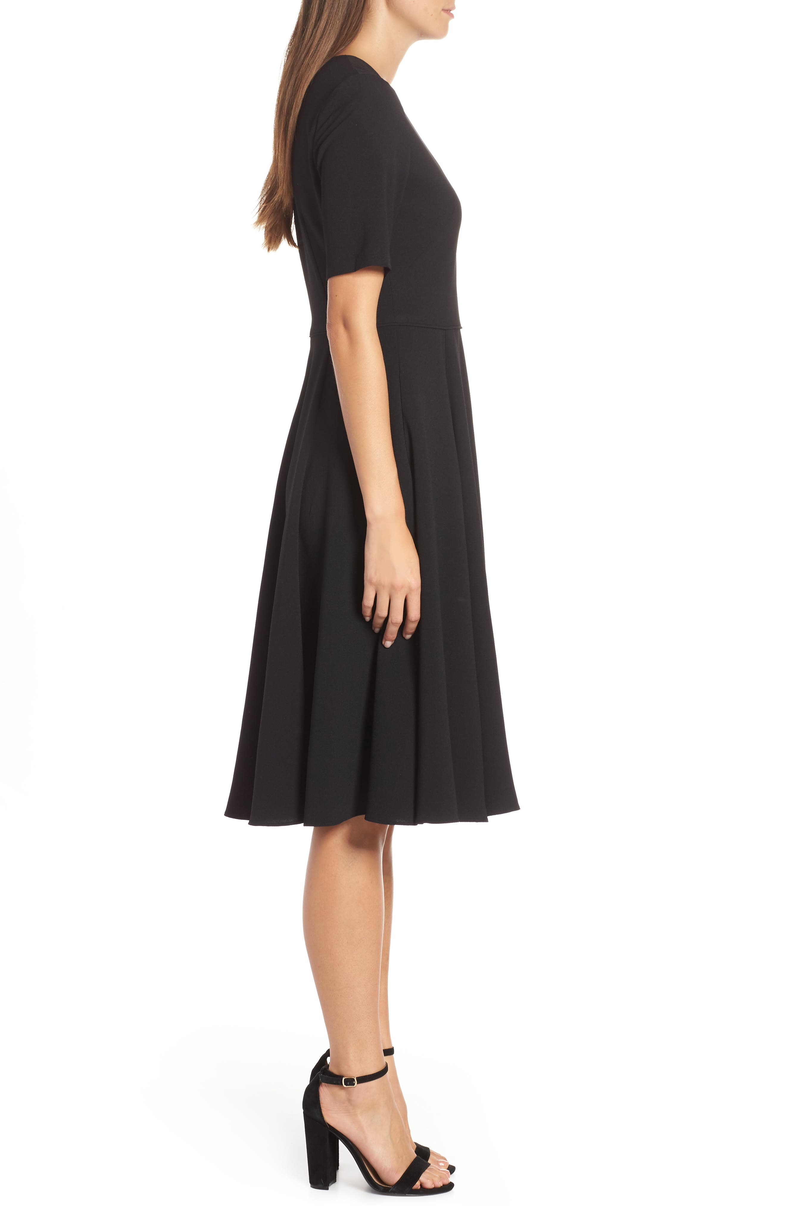 Edith City Crepe Fit & Flare Dress,                             Alternate thumbnail 3, color,                             BLACK