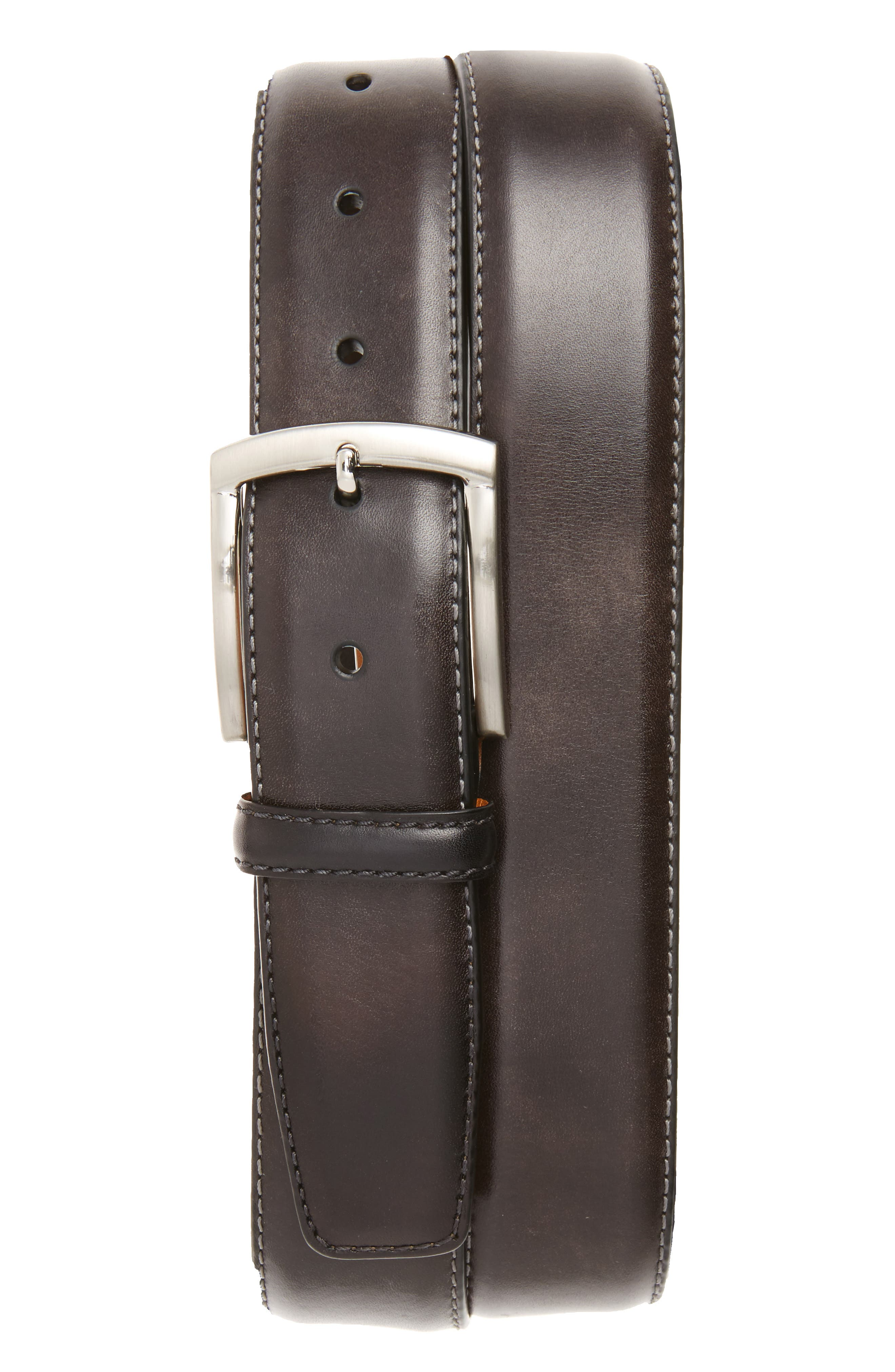 Tanning Leather Belt,                             Main thumbnail 1, color,                             GREY