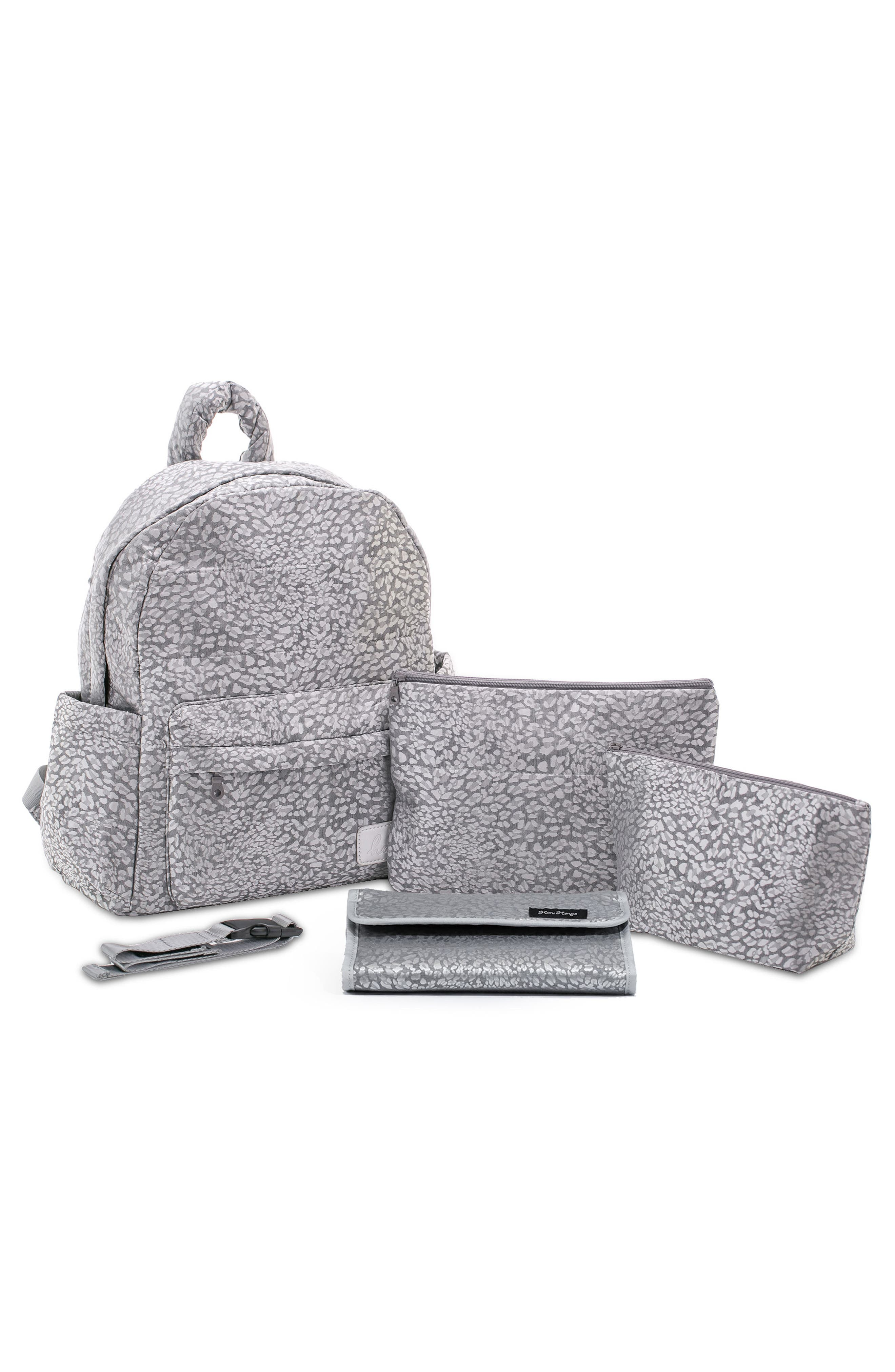 Print Water Repellent Diaper Backpack,                             Alternate thumbnail 2, color,                             SILVER LEOPARD