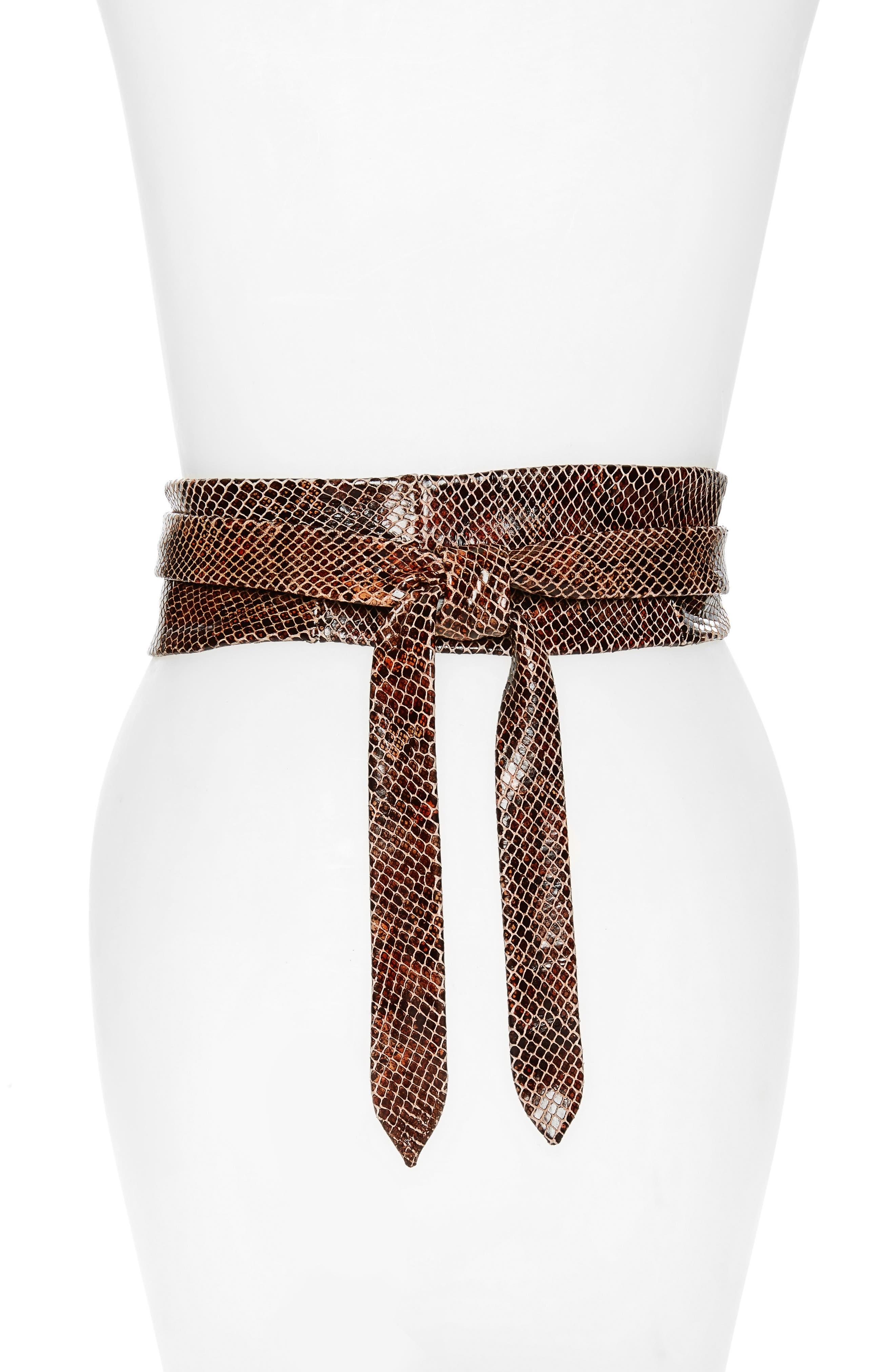 Python Embossed Calfskin Leather Wrap Belt,                             Alternate thumbnail 7, color,