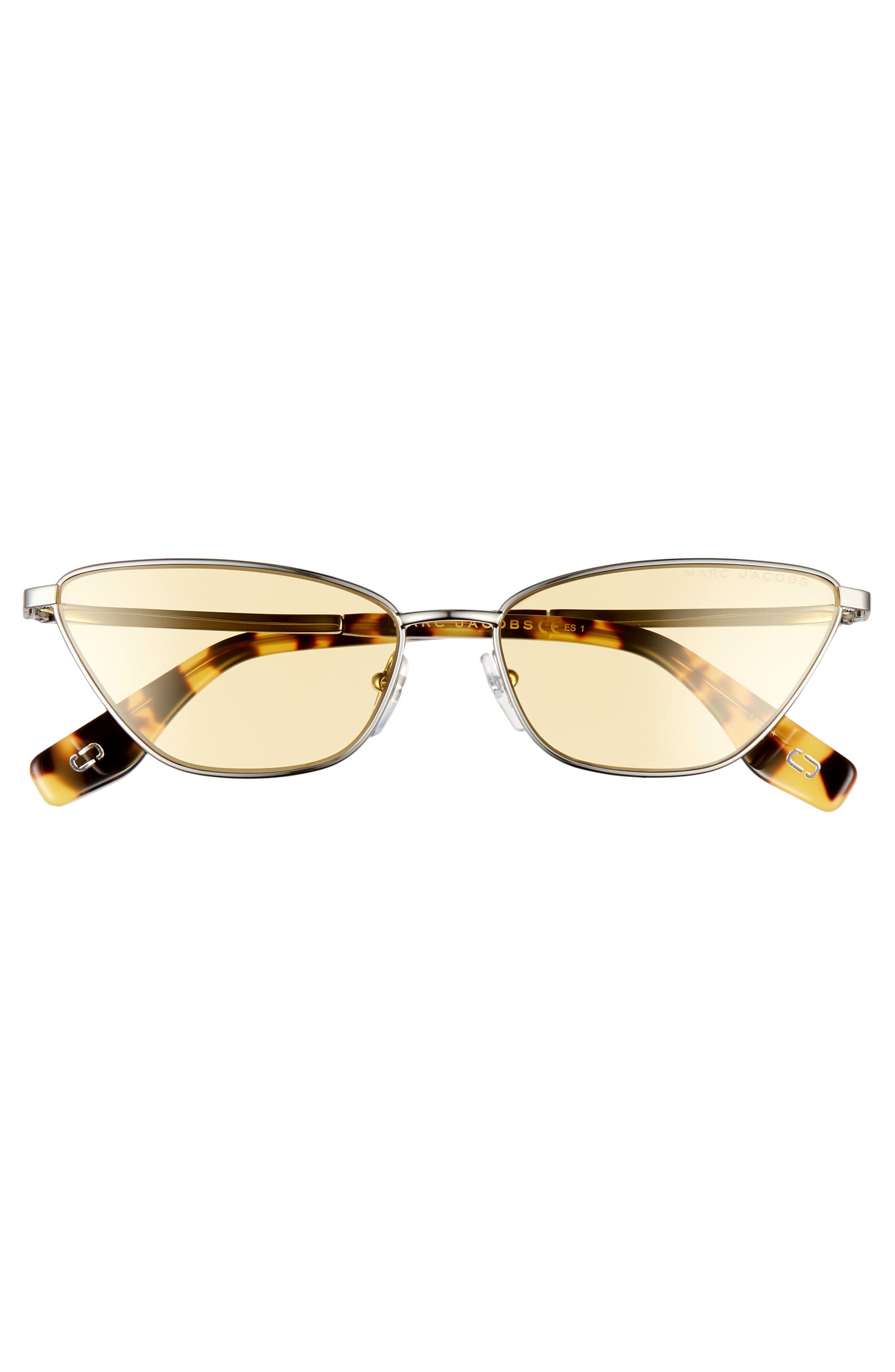 57mm Cat Eye Sunglasses,                             Alternate thumbnail 3, color,                             SILVER/ YELLOW