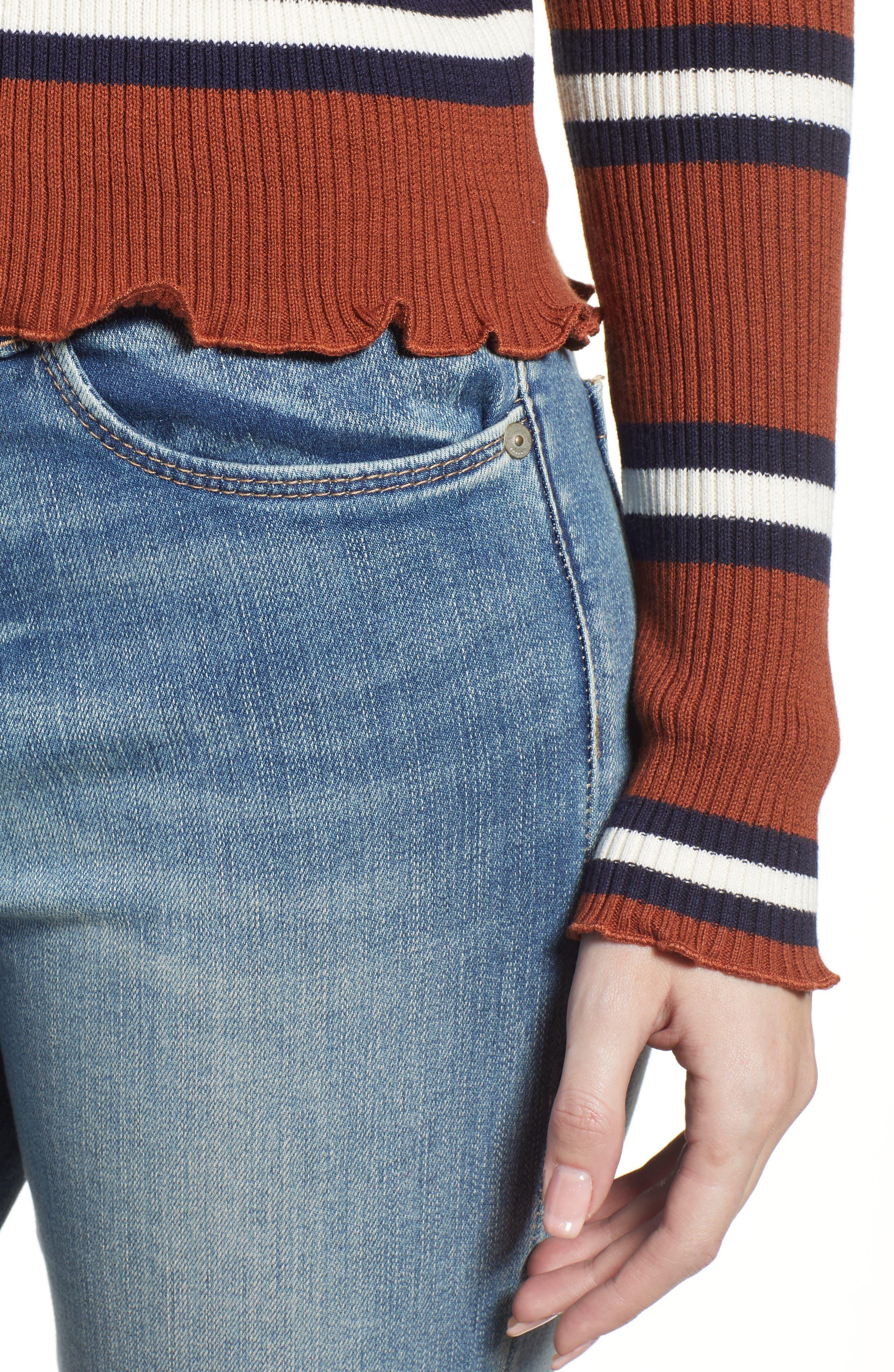 Ribbed Lettuce Edge Stripe Sweater,                             Alternate thumbnail 4, color,                             RUST SEQUOIA CLEO STRIPE