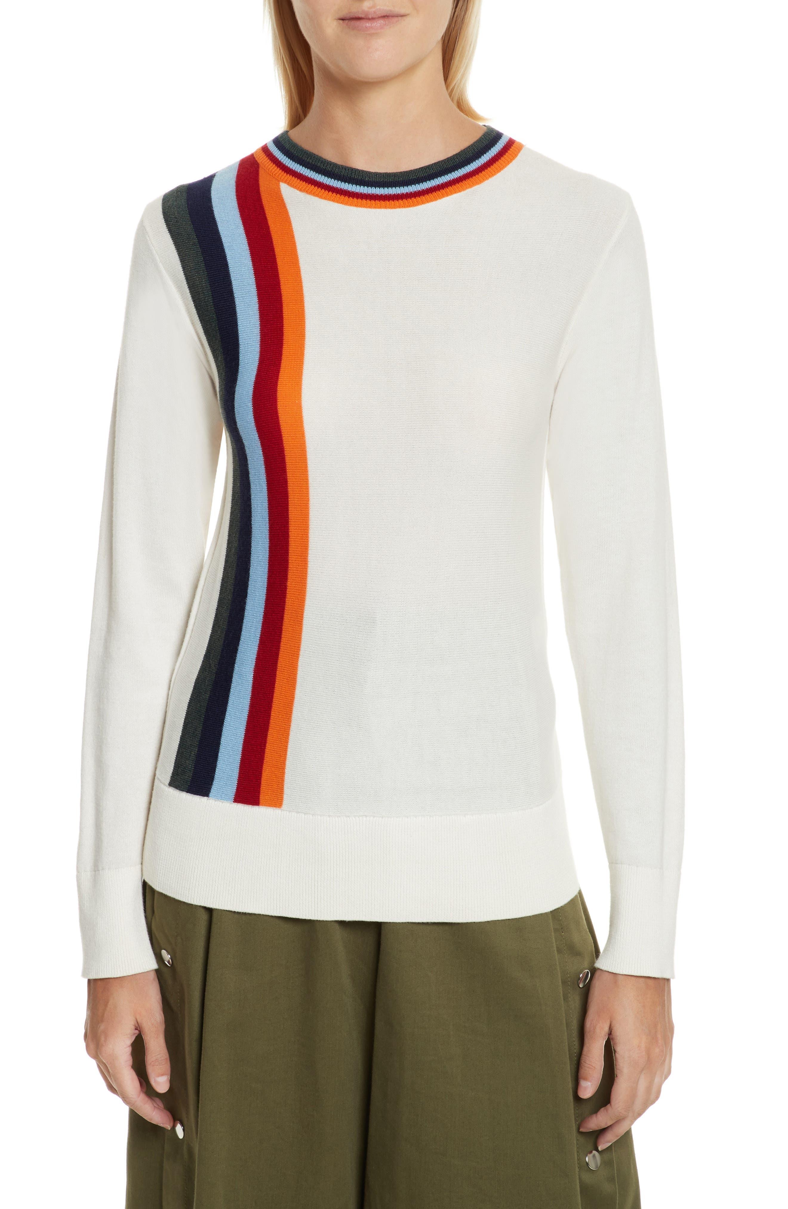 Nell Stripe Cotton Blend Sweater,                             Main thumbnail 1, color,