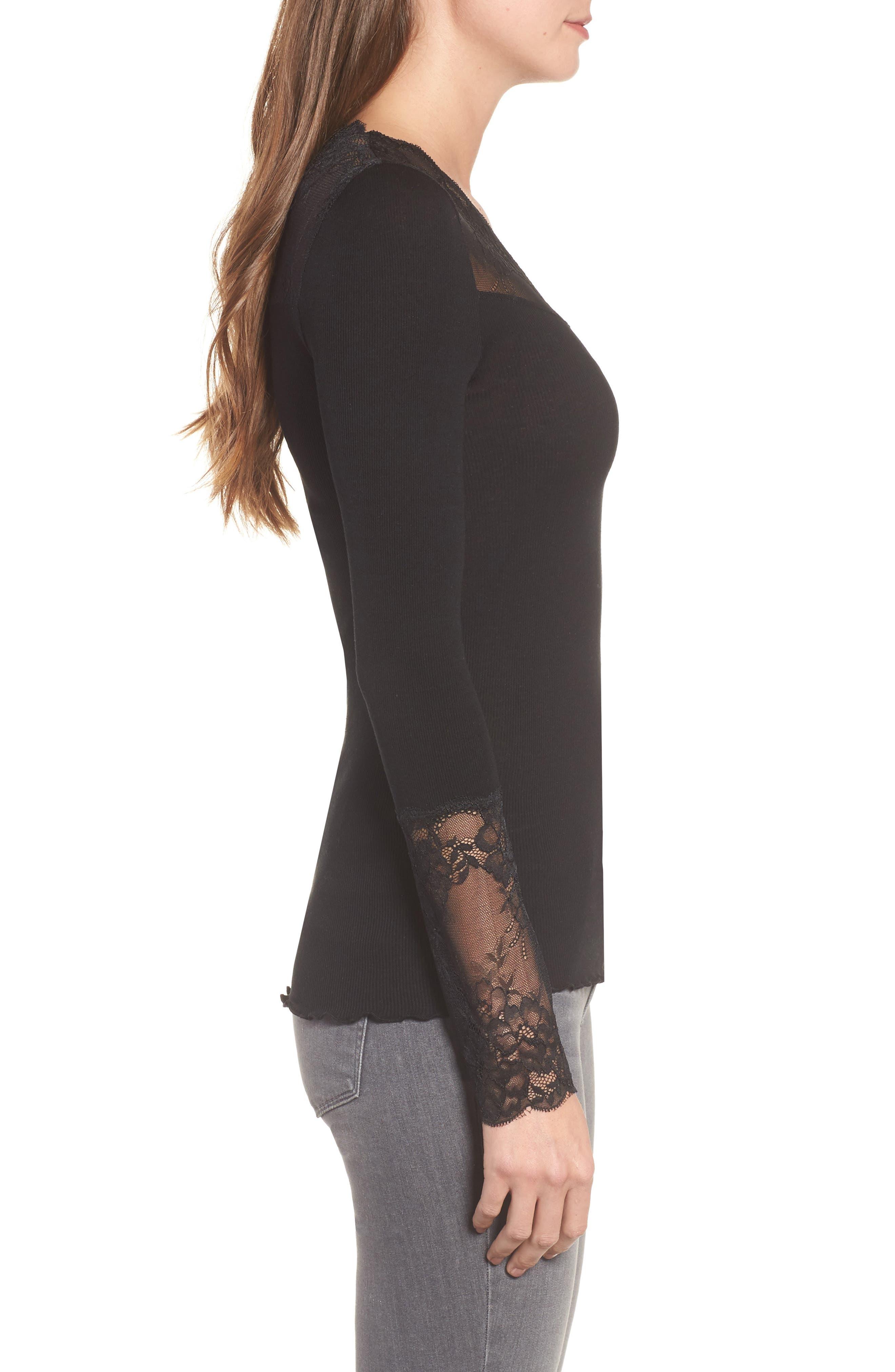 Brigit Lace Embellished Silk Blend Top,                             Alternate thumbnail 3, color,                             BLACK