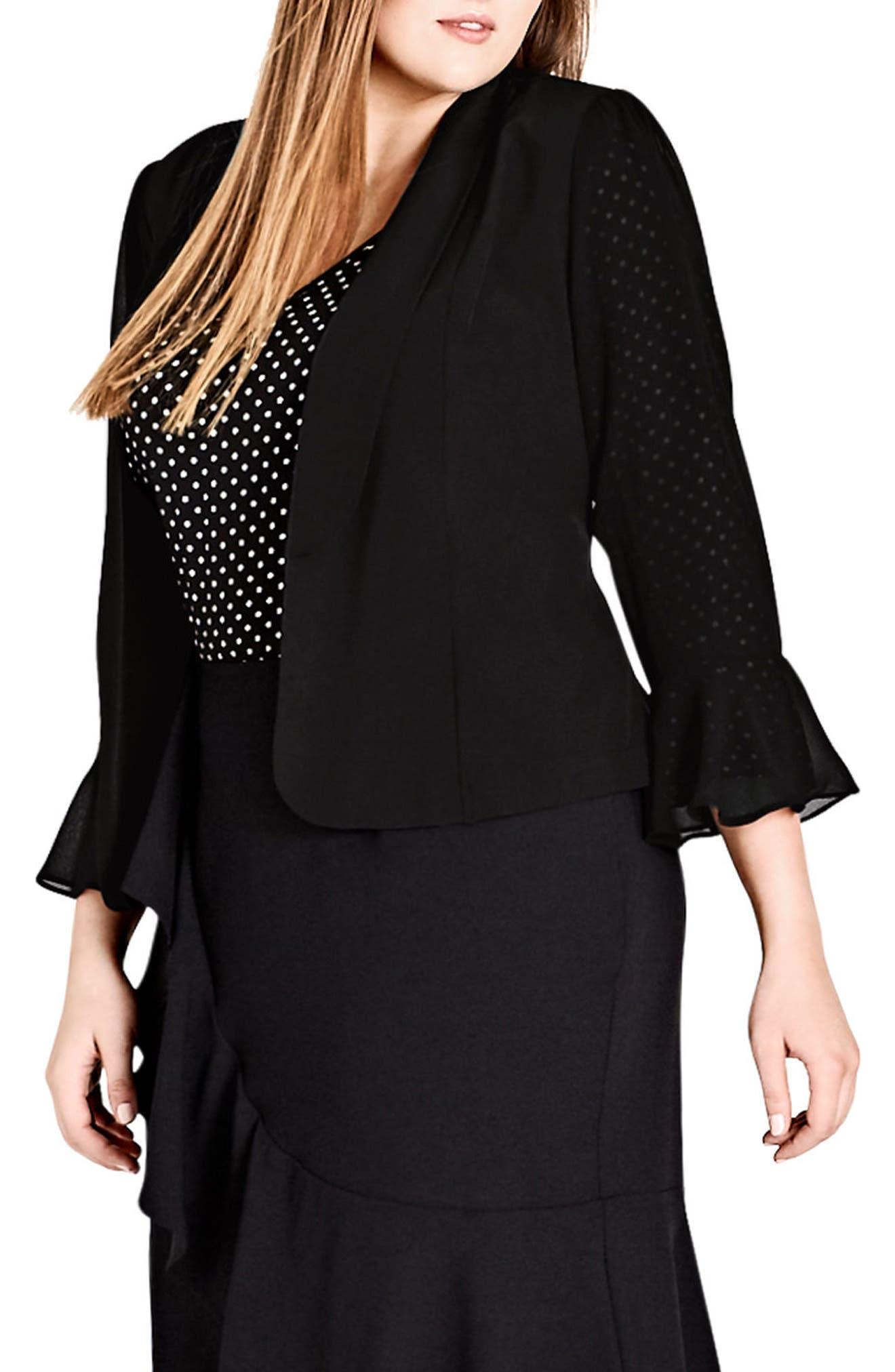Drapey Frill Jacket,                         Main,                         color, BLACK