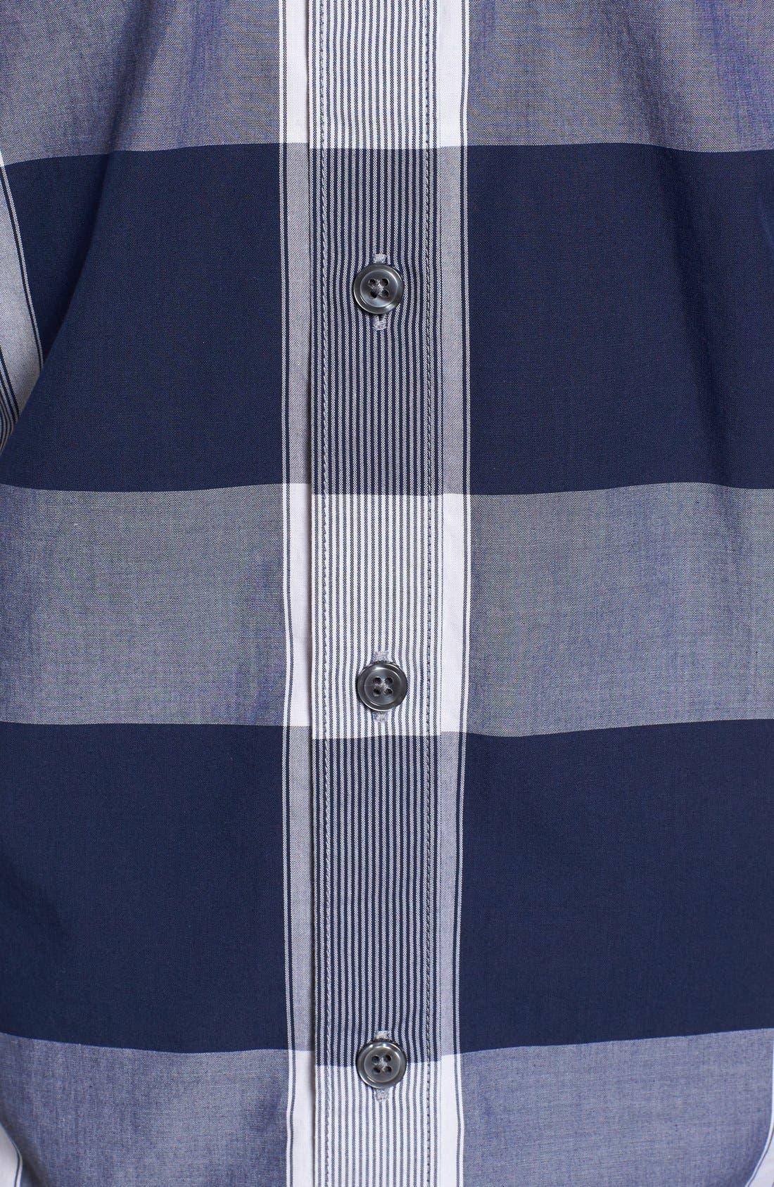 Trim Fit Check Sport Shirt,                             Alternate thumbnail 5, color,                             402