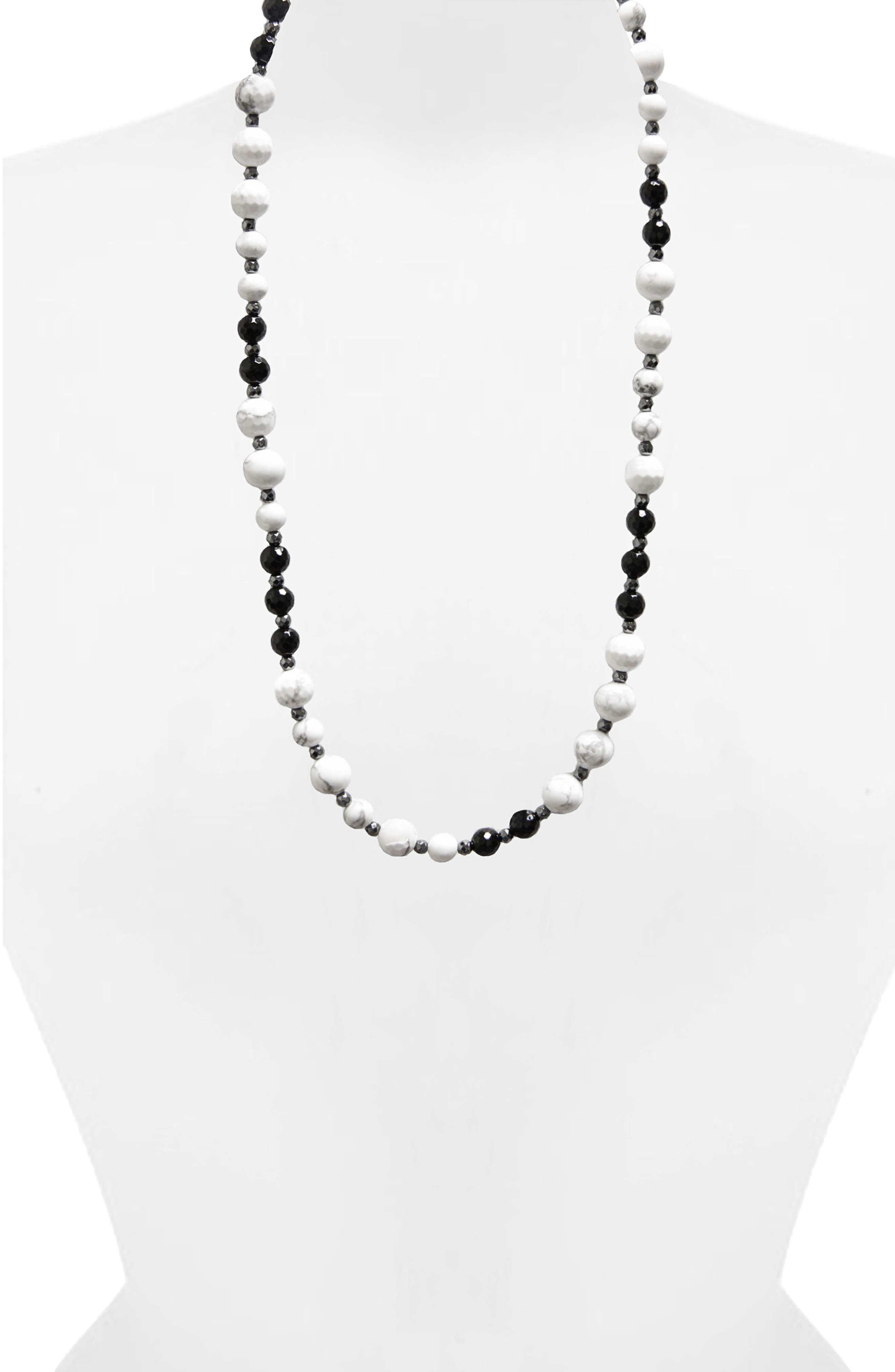 JANE BASCH DESIGNS,                             Jane Basch Long Beaded Necklace,                             Alternate thumbnail 2, color,                             HOWLITE/ HEMATITE