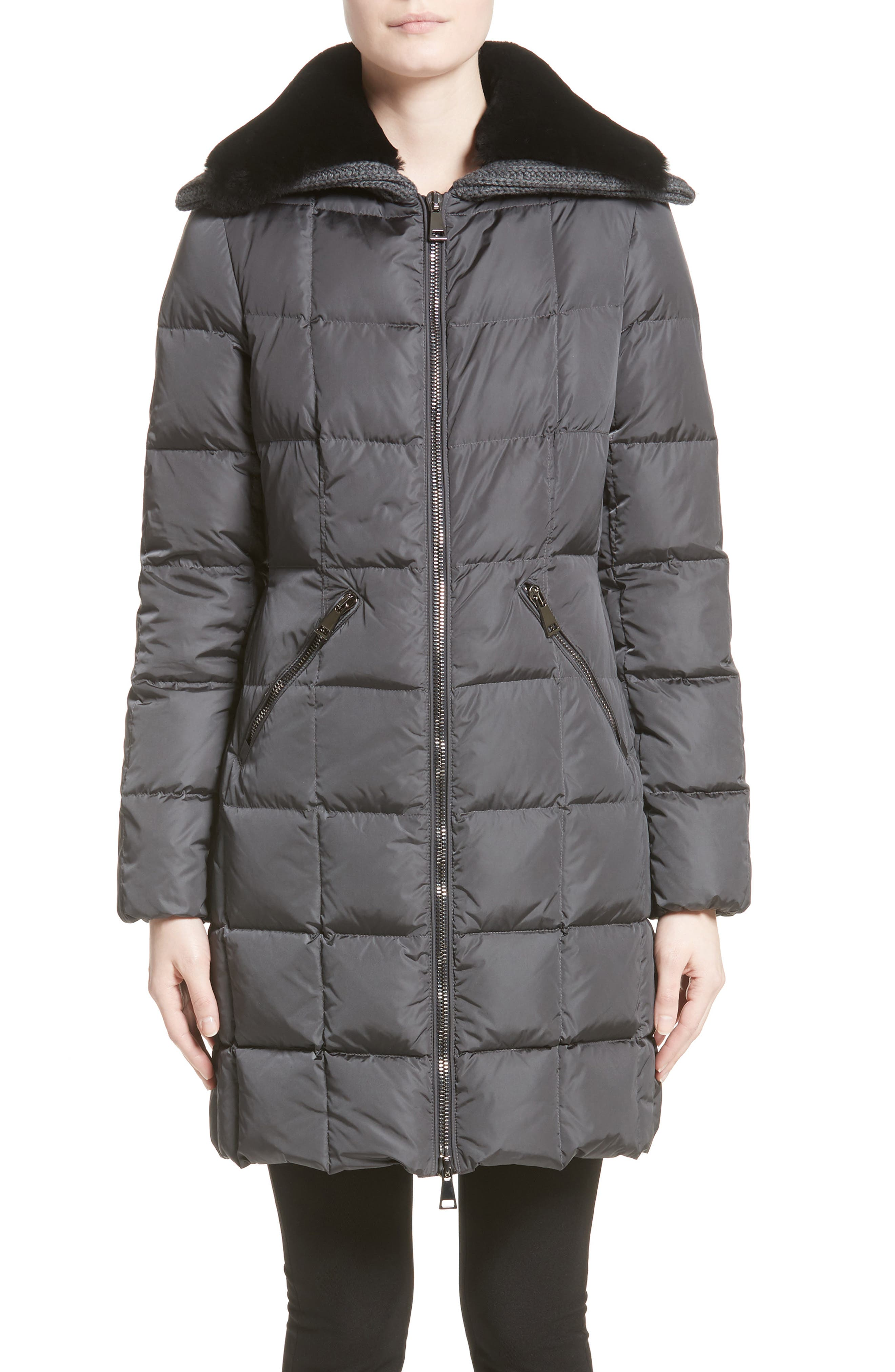 Davidia Quilted Down Coat with Removable Genuine Lamb Fur Collar, Main, color, GREY