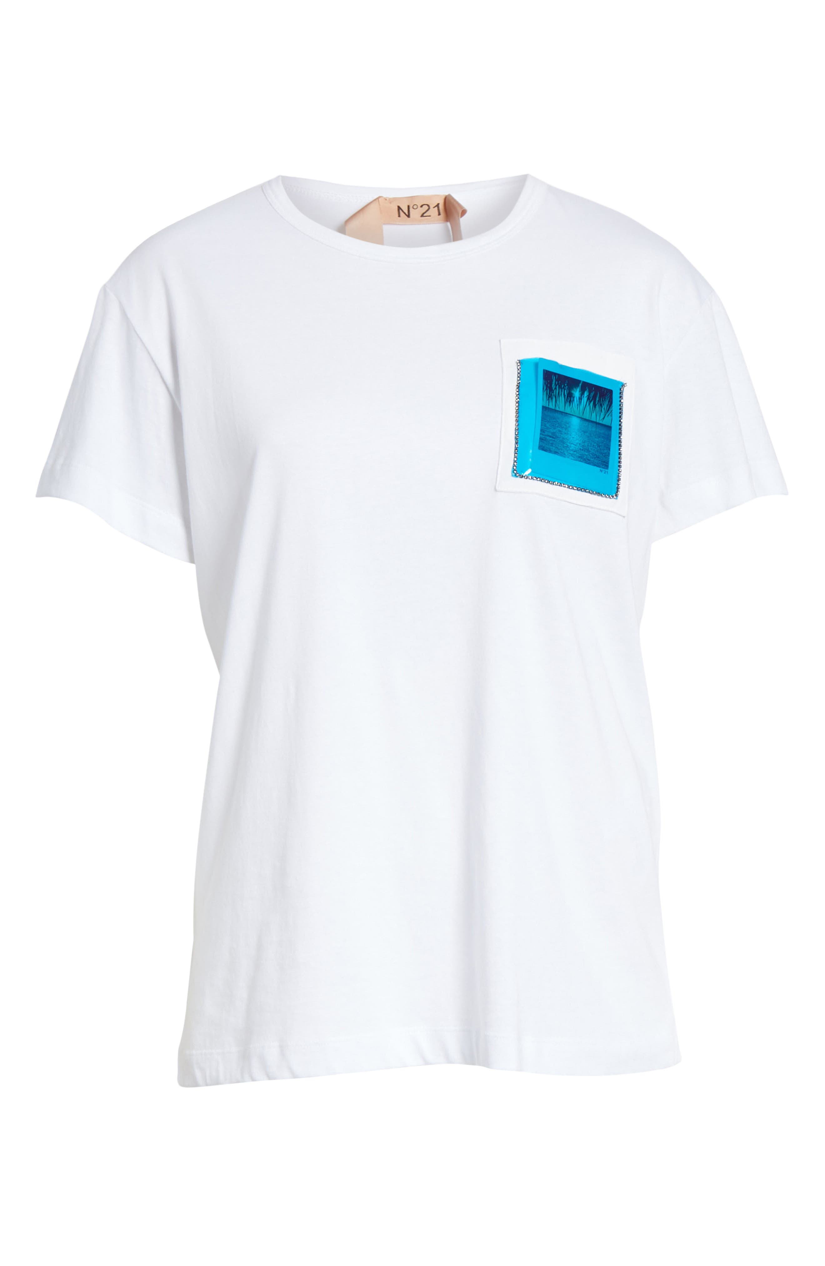 Nº21 Photograph Pocket Tee,                             Alternate thumbnail 6, color,                             WHITE
