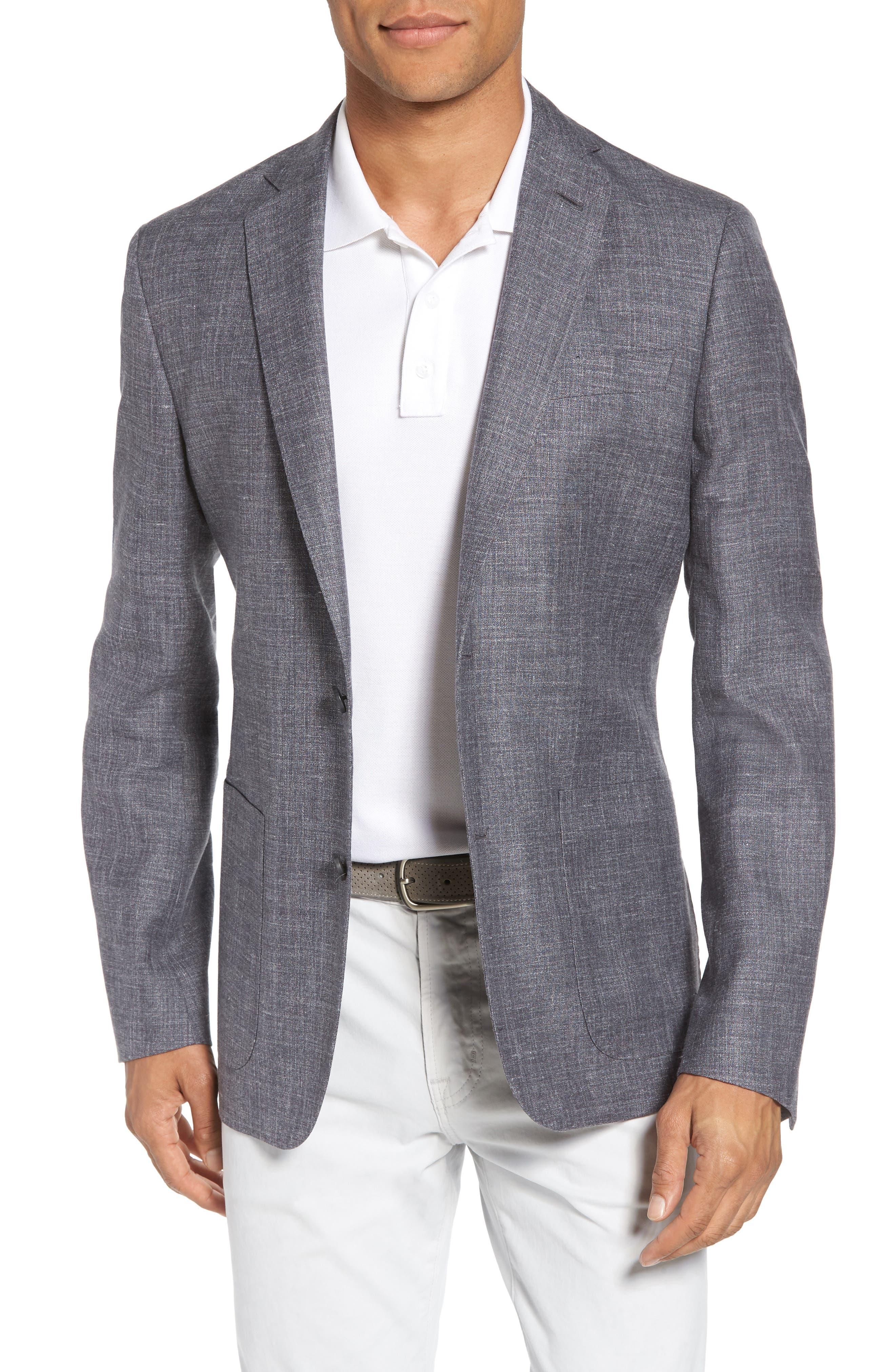 Trim Fit Wool Blend Blazer,                         Main,                         color, 020