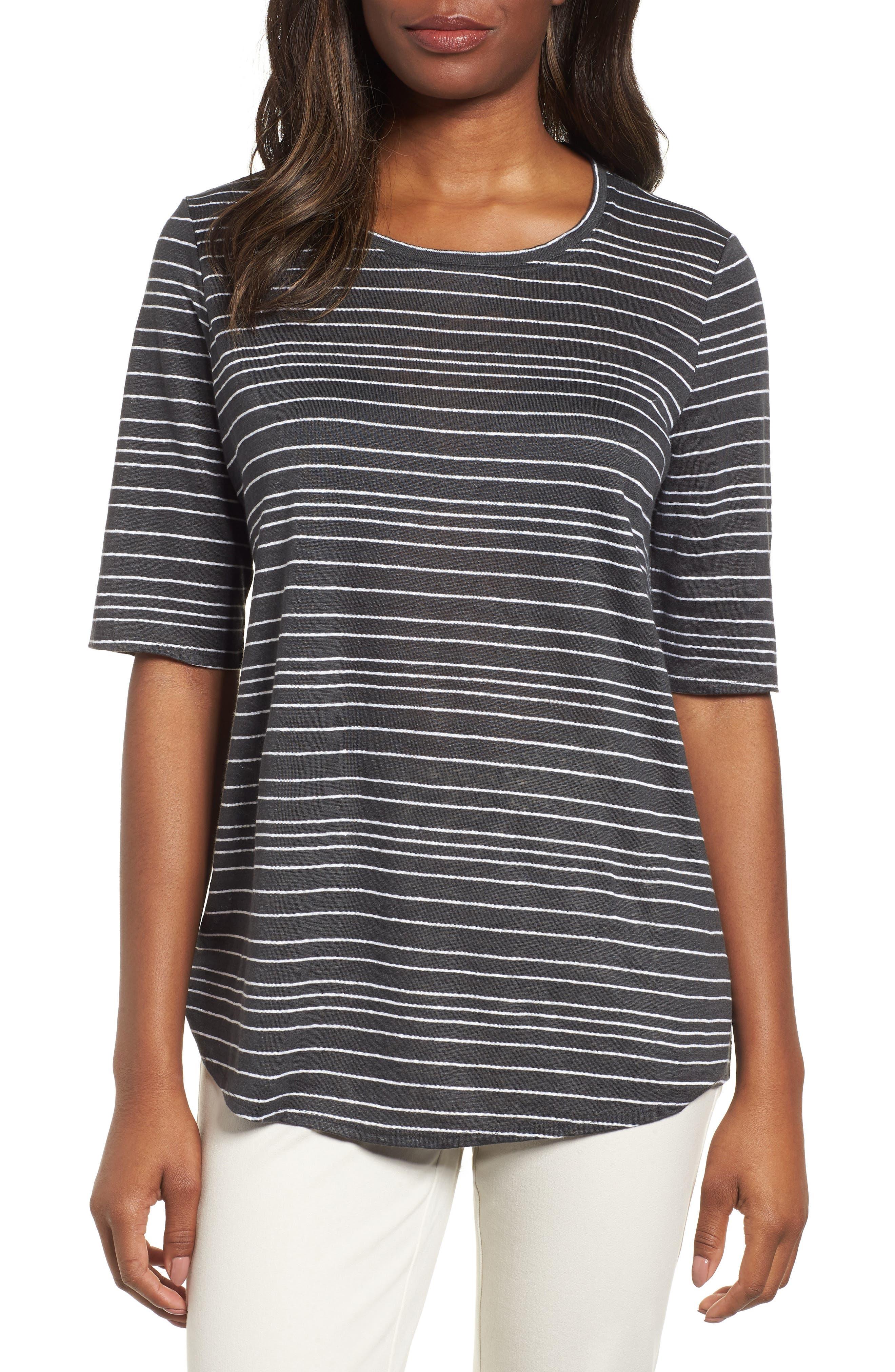Stripe Organic Linen Top,                         Main,                         color, 025