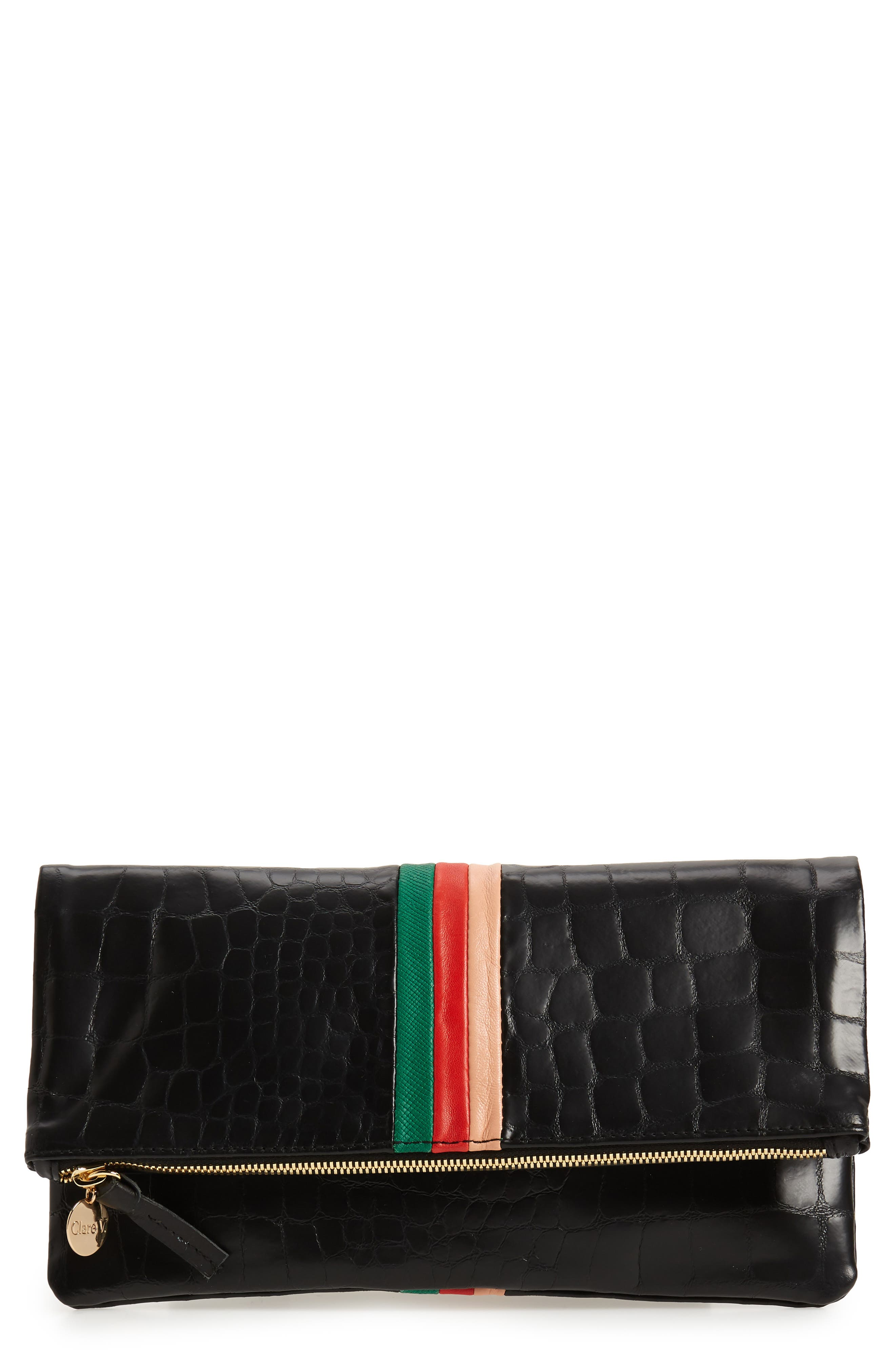 Croc Embossed Leather Foldover Clutch,                             Main thumbnail 1, color,