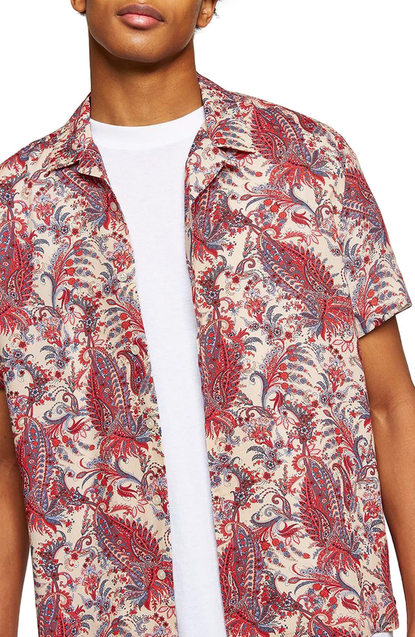 Paisley Camp Shirt,                         Main,                         color, PINK MULTI