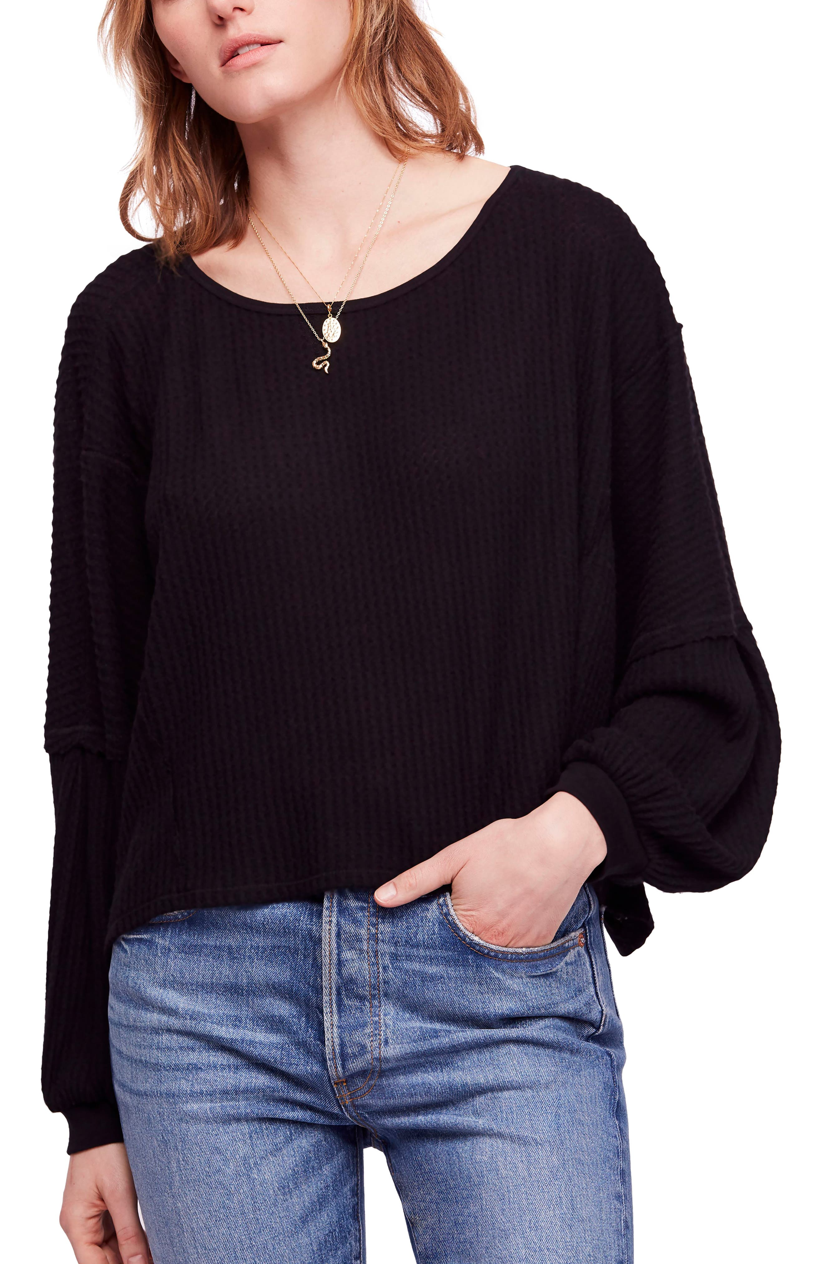 We the Free by Free People Love Me Thermal Top,                         Main,                         color, BLACK