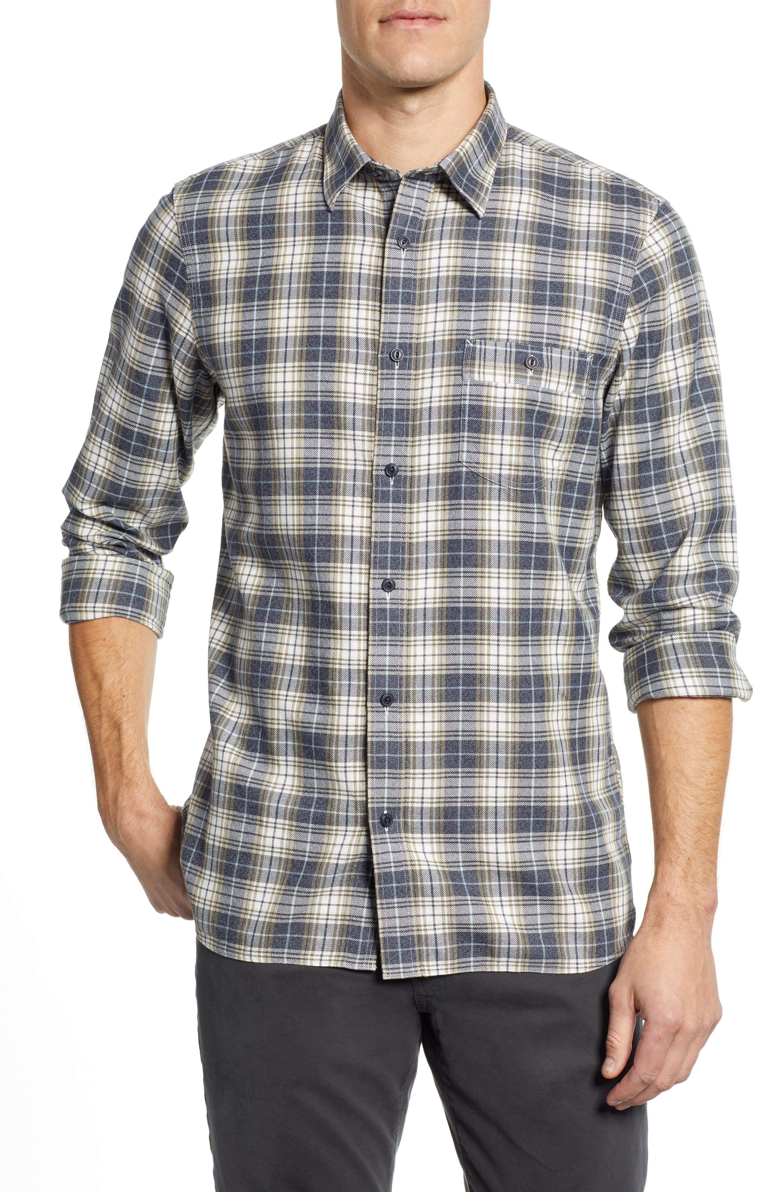 Trucker Regular Fit Plaid Flannel Shirt,                             Main thumbnail 1, color,                             IVORY EGRET TWILL PLAID