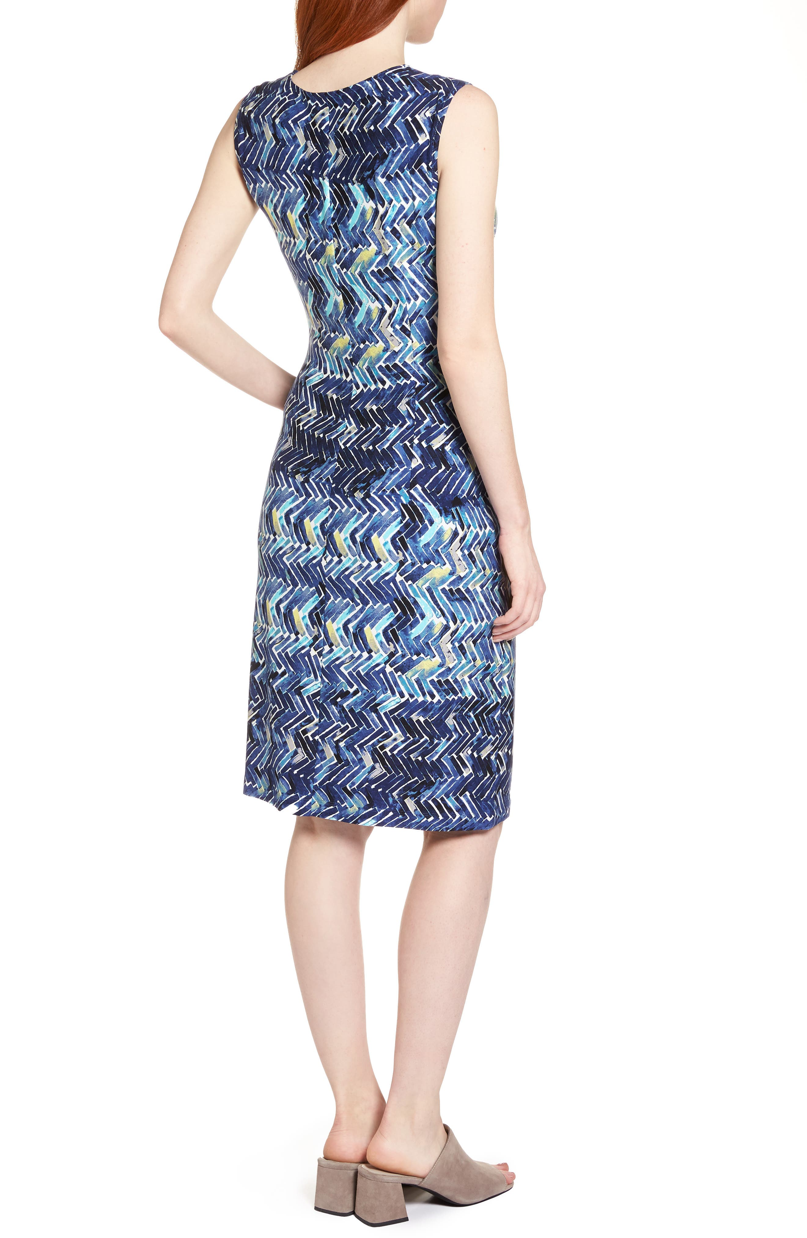 Seaside Tile Ruched Sheath Dress,                             Alternate thumbnail 2, color,