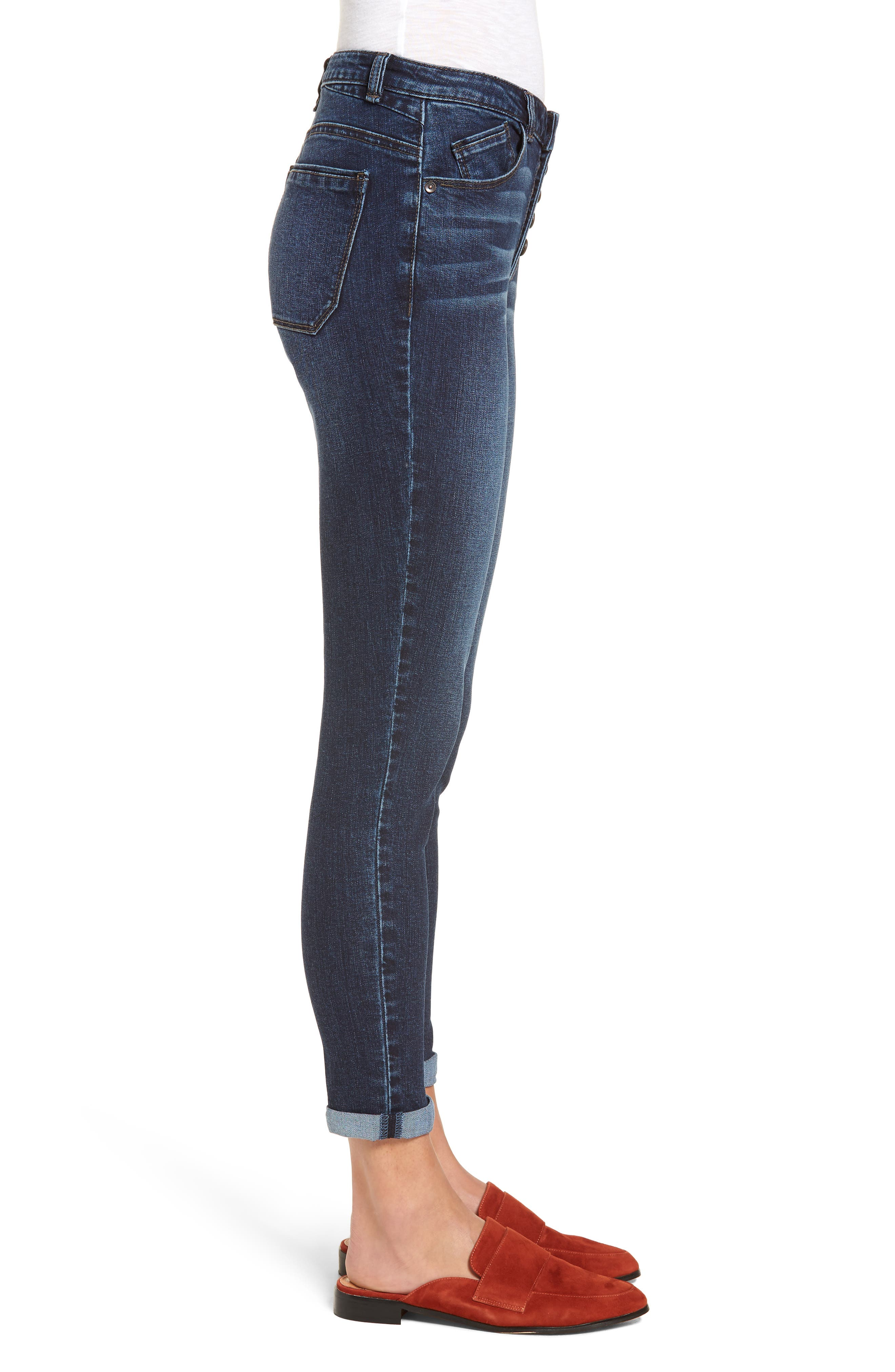 High Waist Button Fly Skinny Ankle Jeans,                             Alternate thumbnail 3, color,                             420