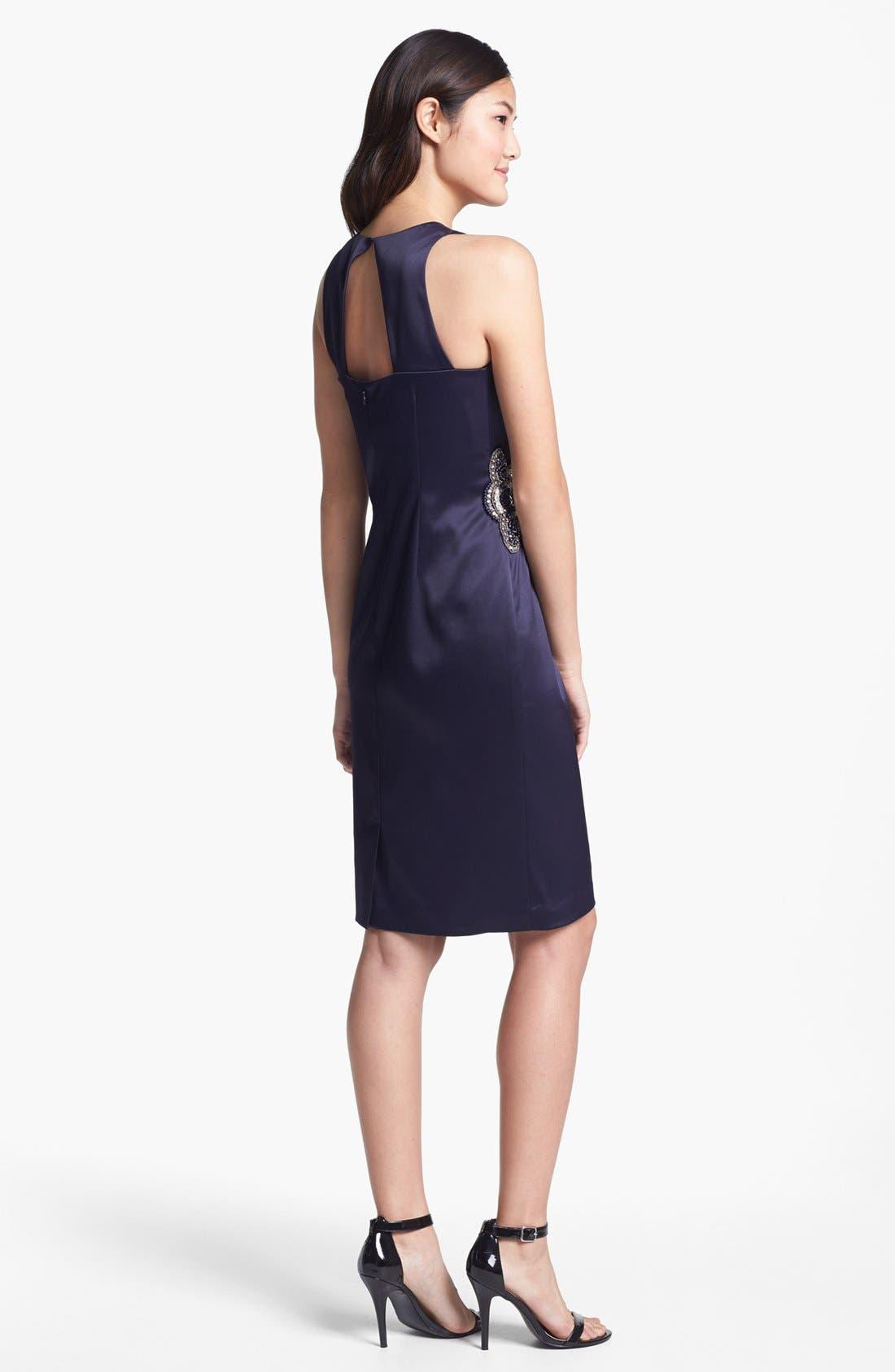 Embellished Side Ruched Sheath Dress,                             Alternate thumbnail 10, color,