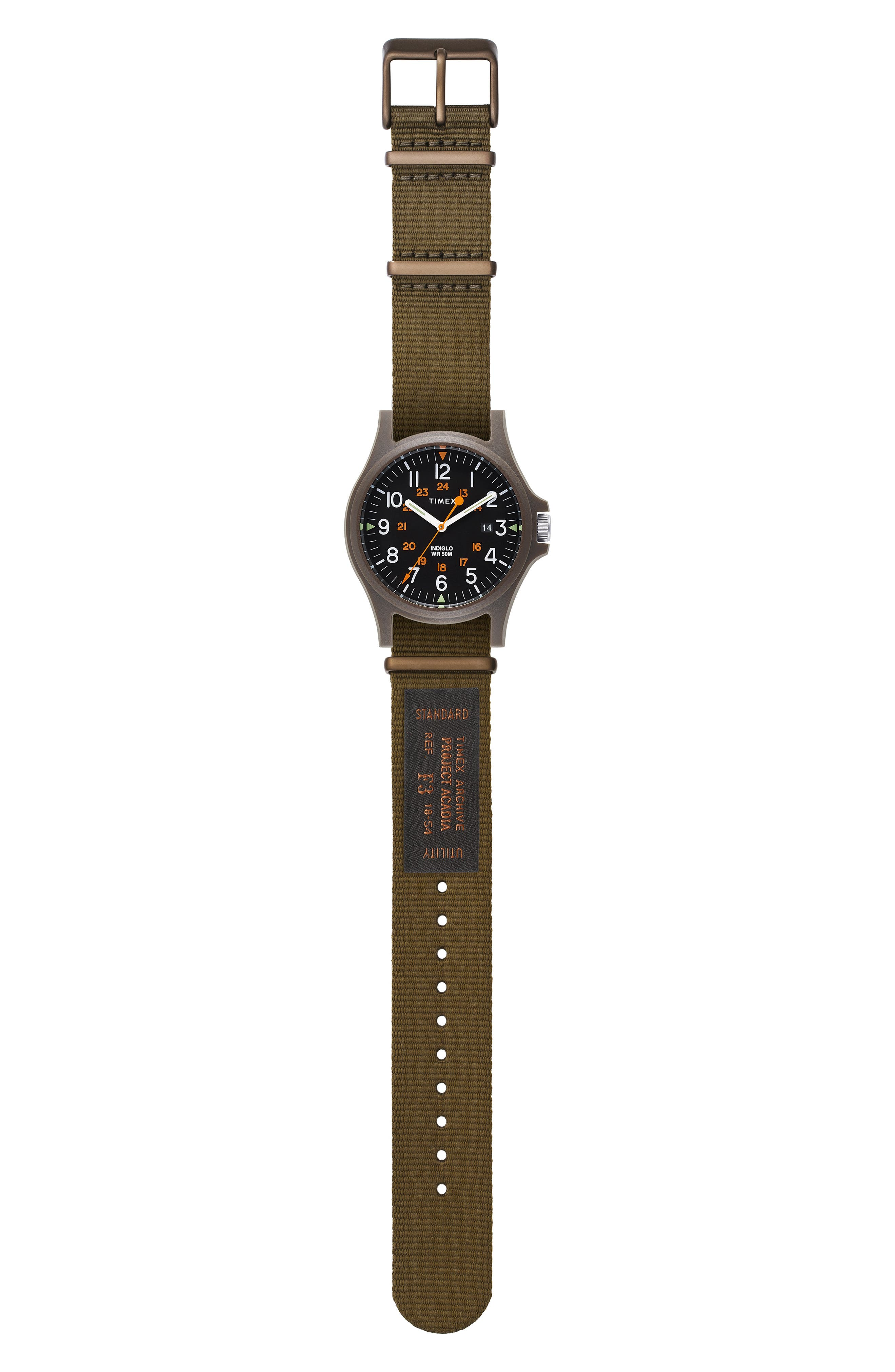 Timex<sup>®</sup> Acadia NATO Strap Watch, 40mm,                             Alternate thumbnail 2, color,                             BLACK/ OLIVE