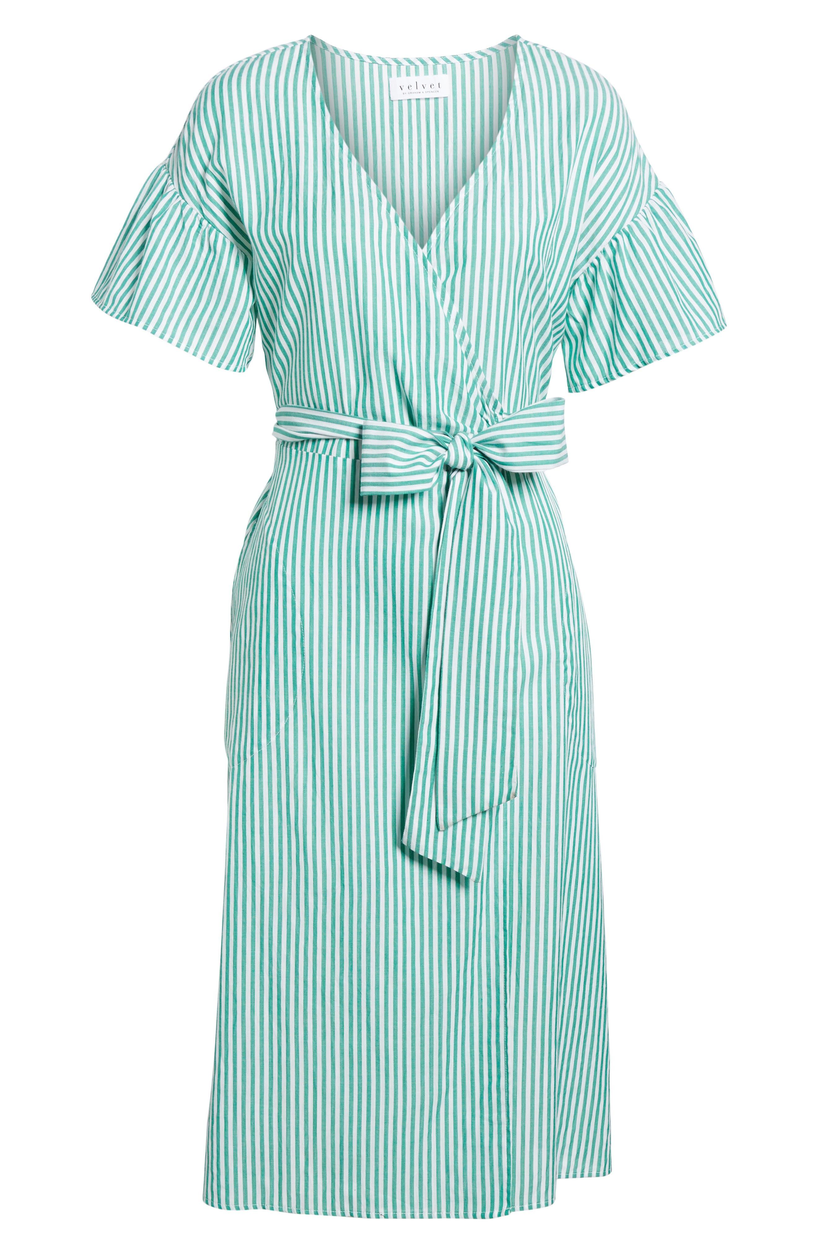 Stripe Cotton Wrap Dress,                             Alternate thumbnail 6, color,                             389