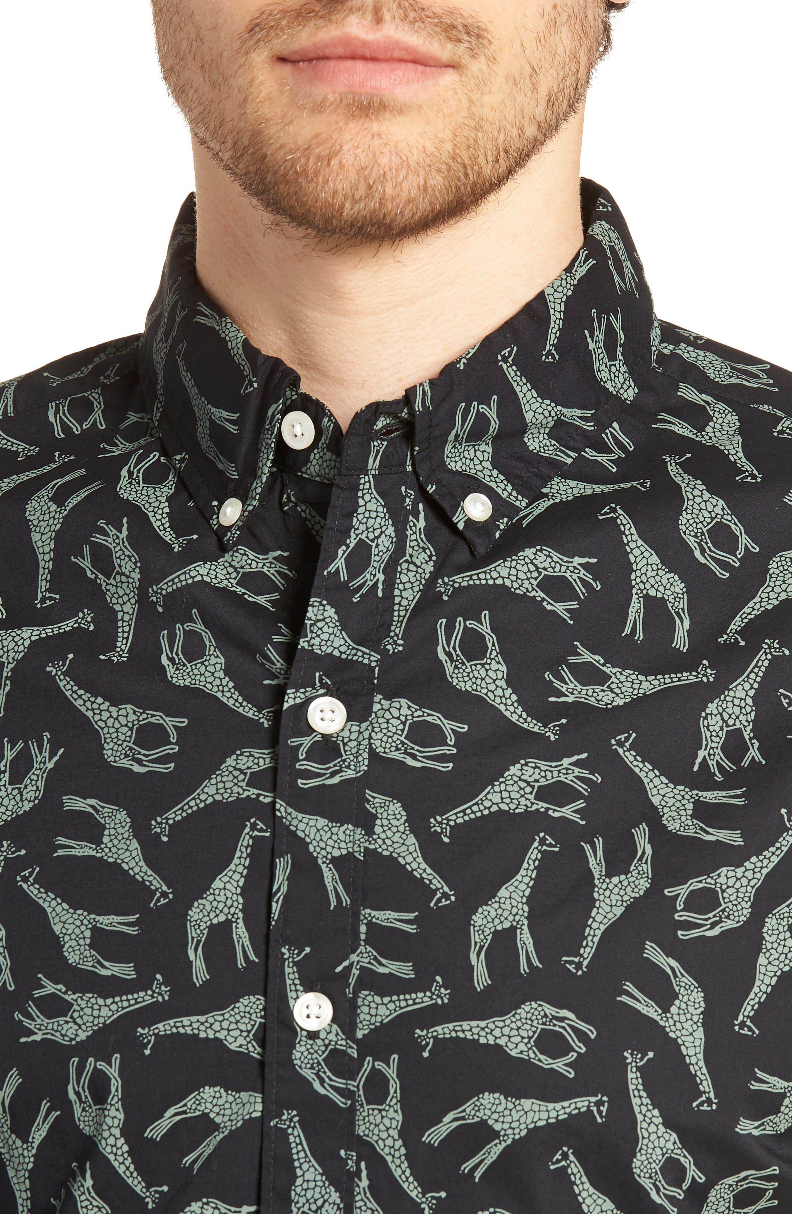 BONOBOS,                             Riviera Slim Fit Giraffe Print Sport Shirt,                             Alternate thumbnail 4, color,                             001