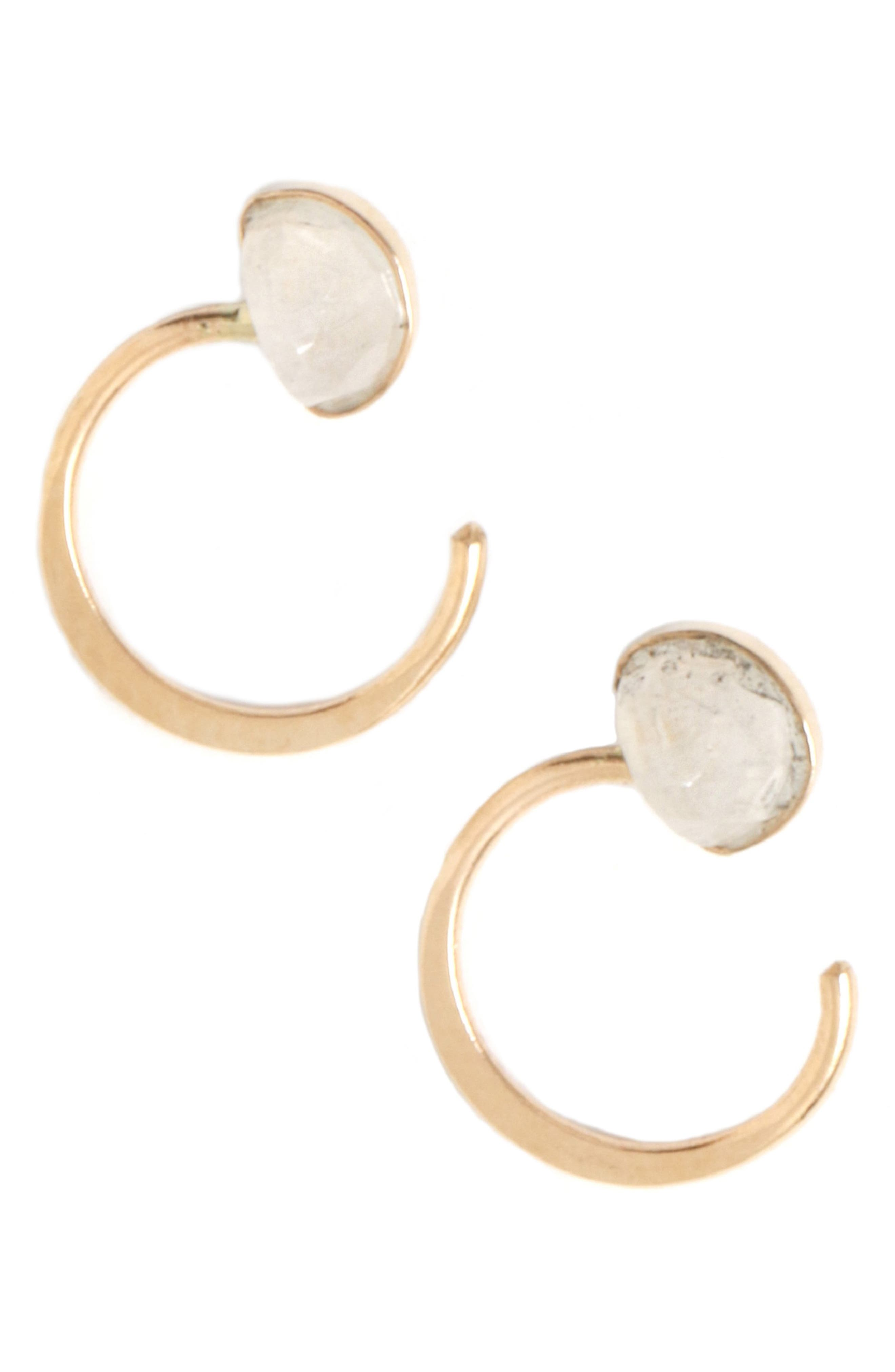 MELISSA JOY MANNING Moonstone Wrap Hug Hoop Earrings in Yellow Gold