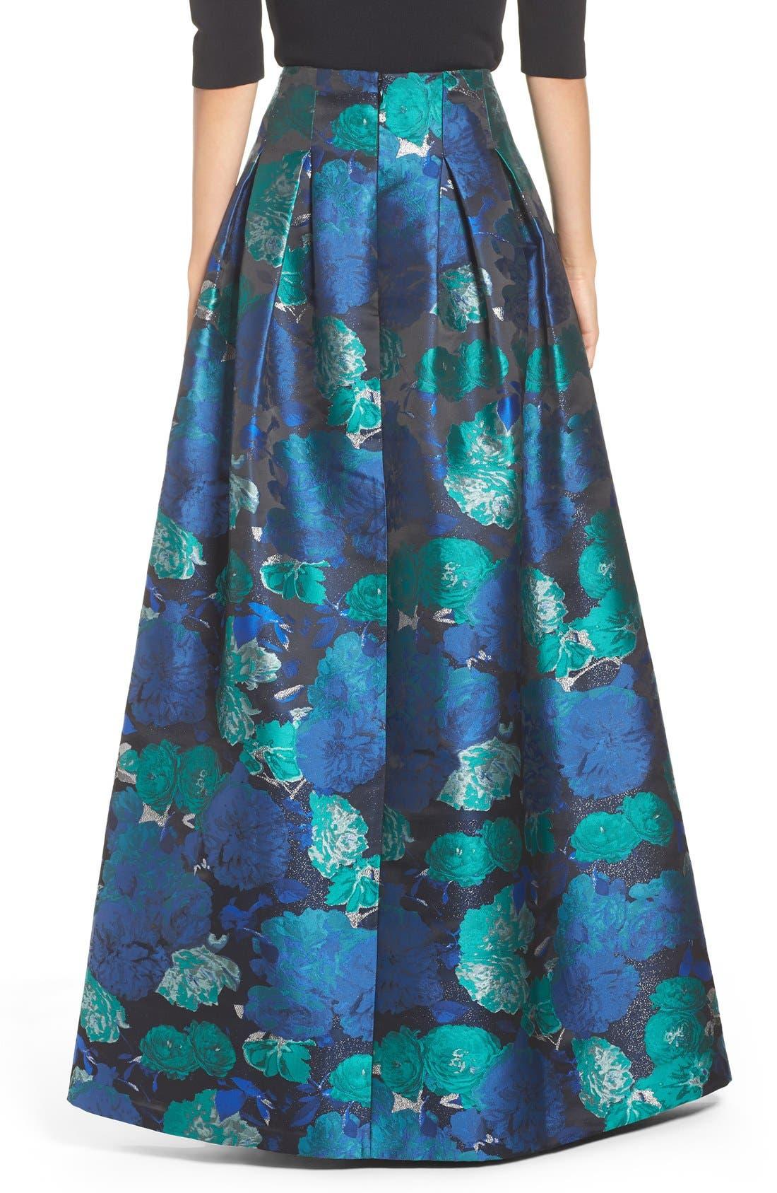 Floral Jacquard Ball Skirt,                             Alternate thumbnail 3, color,                             442