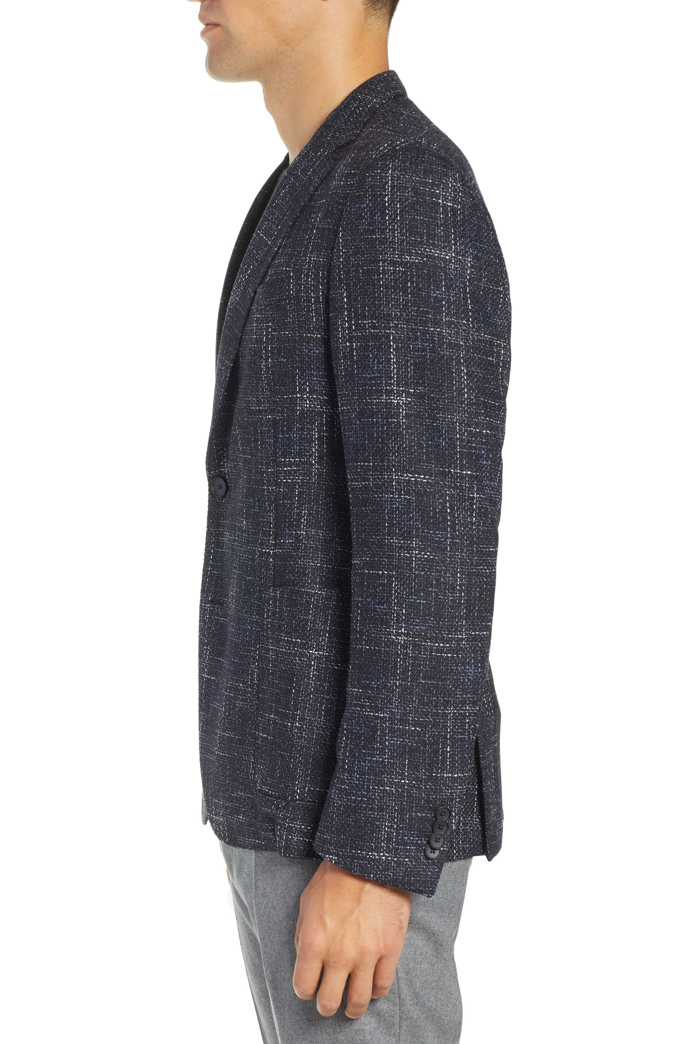 Nold Slim Fit Plaid Wool Blend Sport Coat,                             Alternate thumbnail 3, color,                             OPEN BLUE