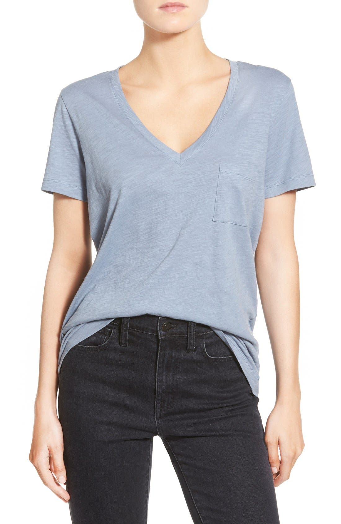 Whisper Cotton V-Neck Pocket Tee,                             Main thumbnail 23, color,