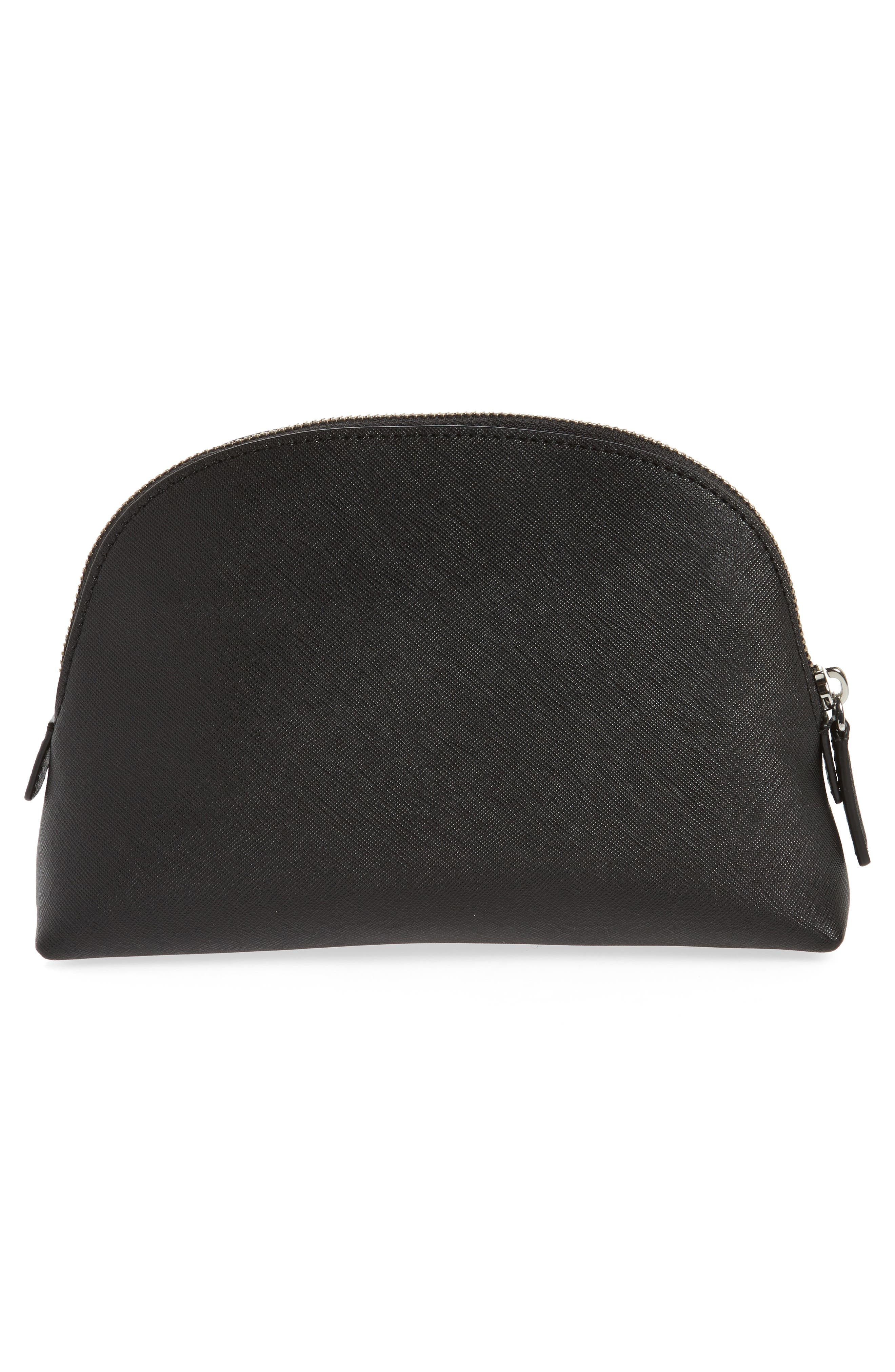 Logo Embossed Leather Cosmetics Bag,                             Alternate thumbnail 2, color,                             BLACK