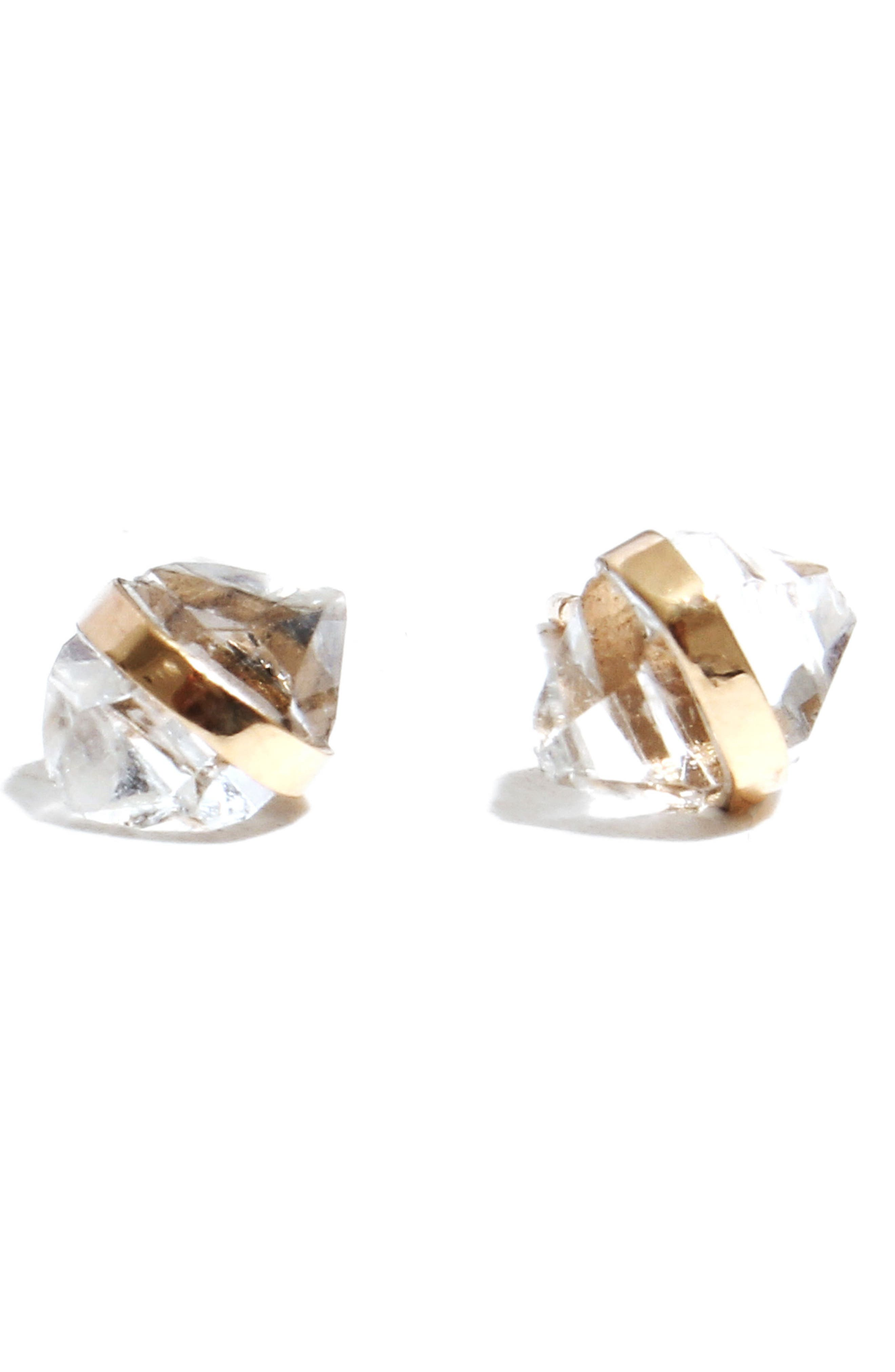 Stone Stud Earrings,                             Main thumbnail 1, color,                             YELLOW GOLD