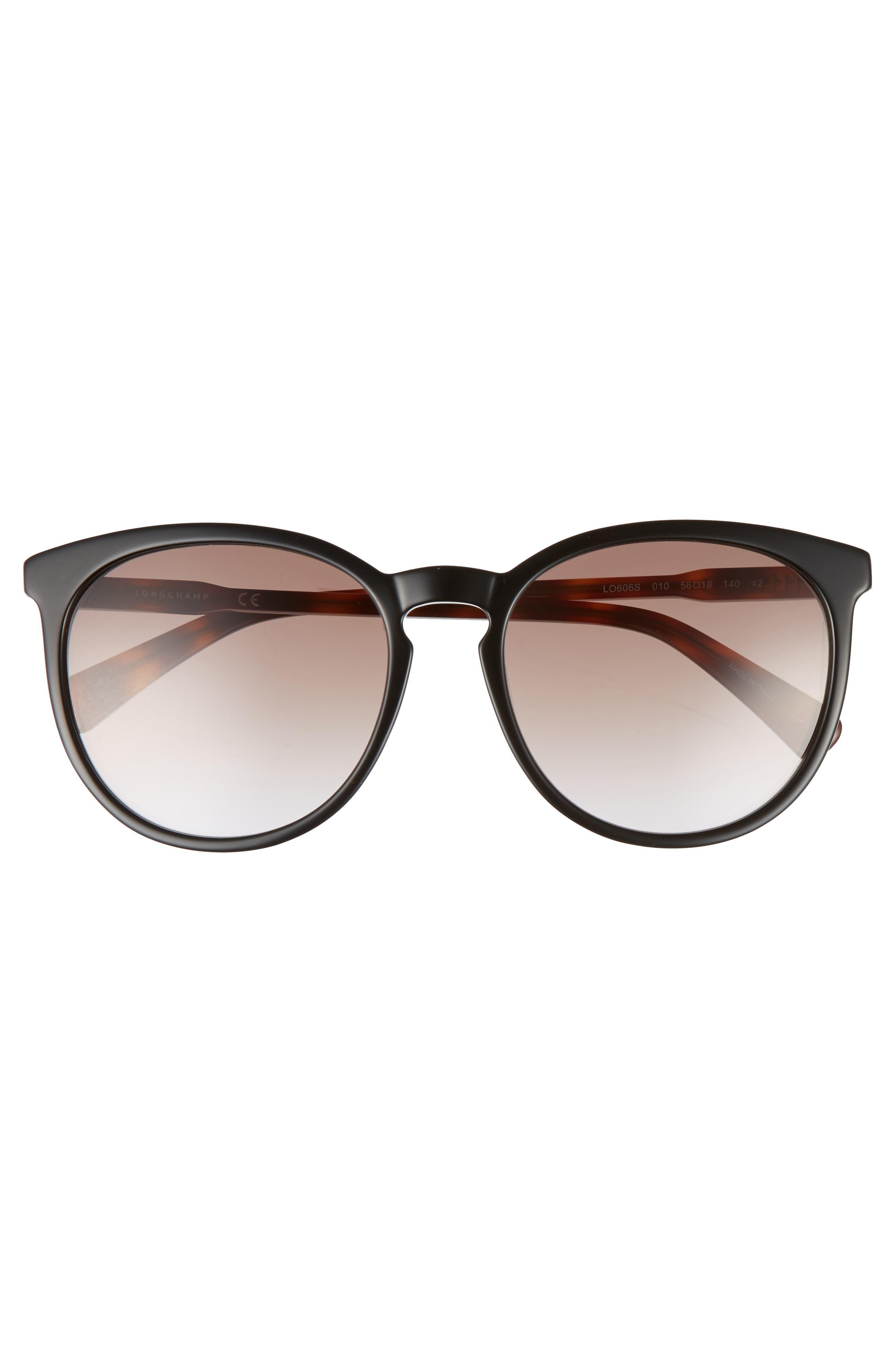 56mm Round Sunglasses,                             Alternate thumbnail 3, color,                             BLACK/ HAVANA