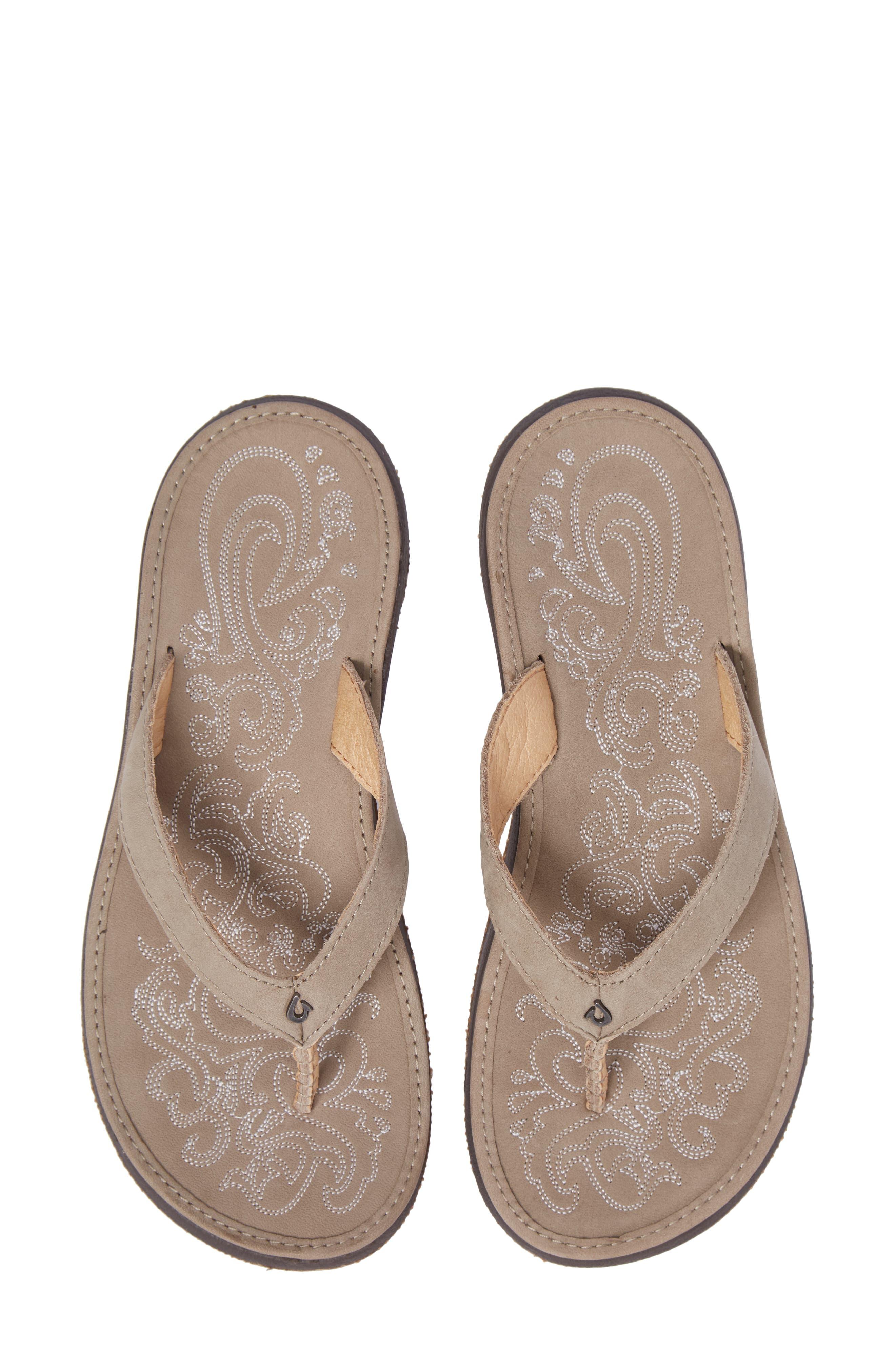 OLUKAI,                             'Paniolo' Thong Sandal,                             Alternate thumbnail 5, color,                             TAUPE/ TAUPE LEATHER