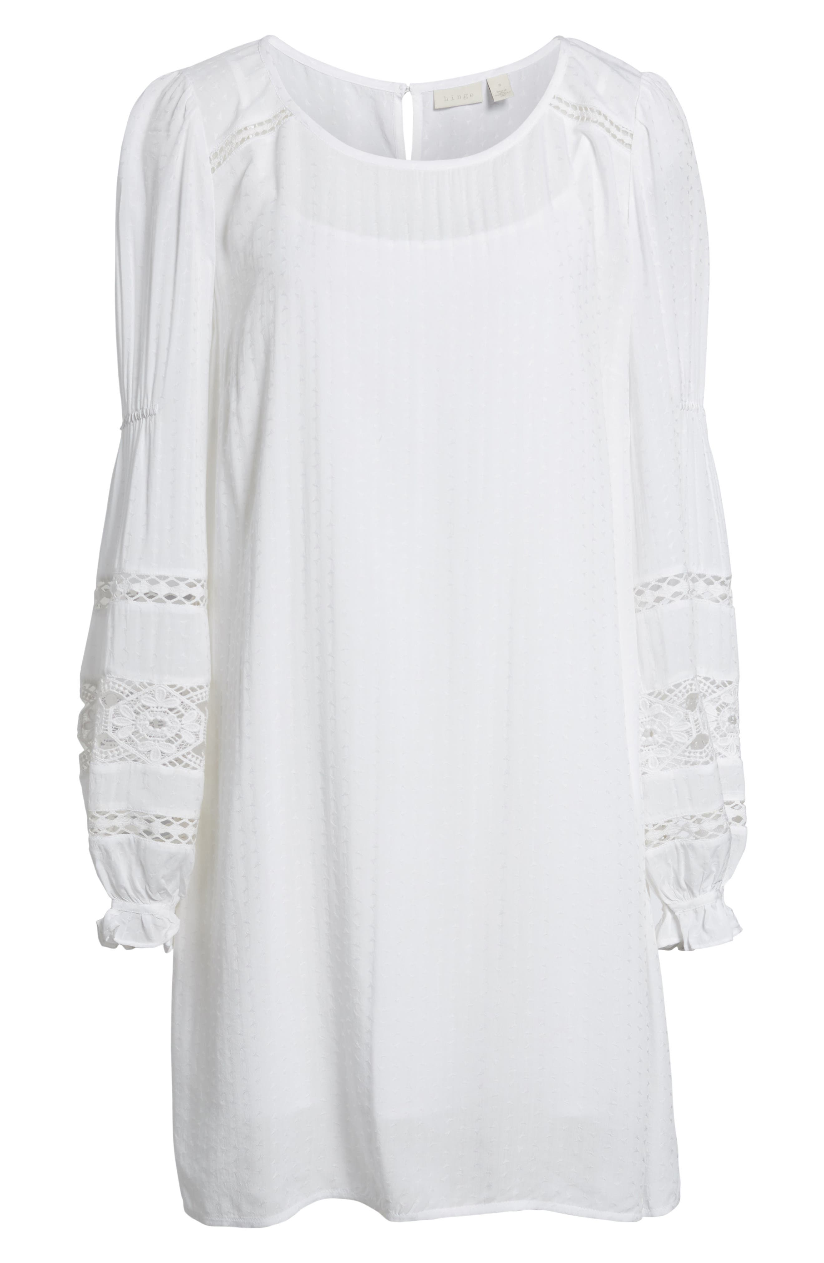 Lace Trim Puff Sleeve Shift Dress,                             Alternate thumbnail 6, color,                             100