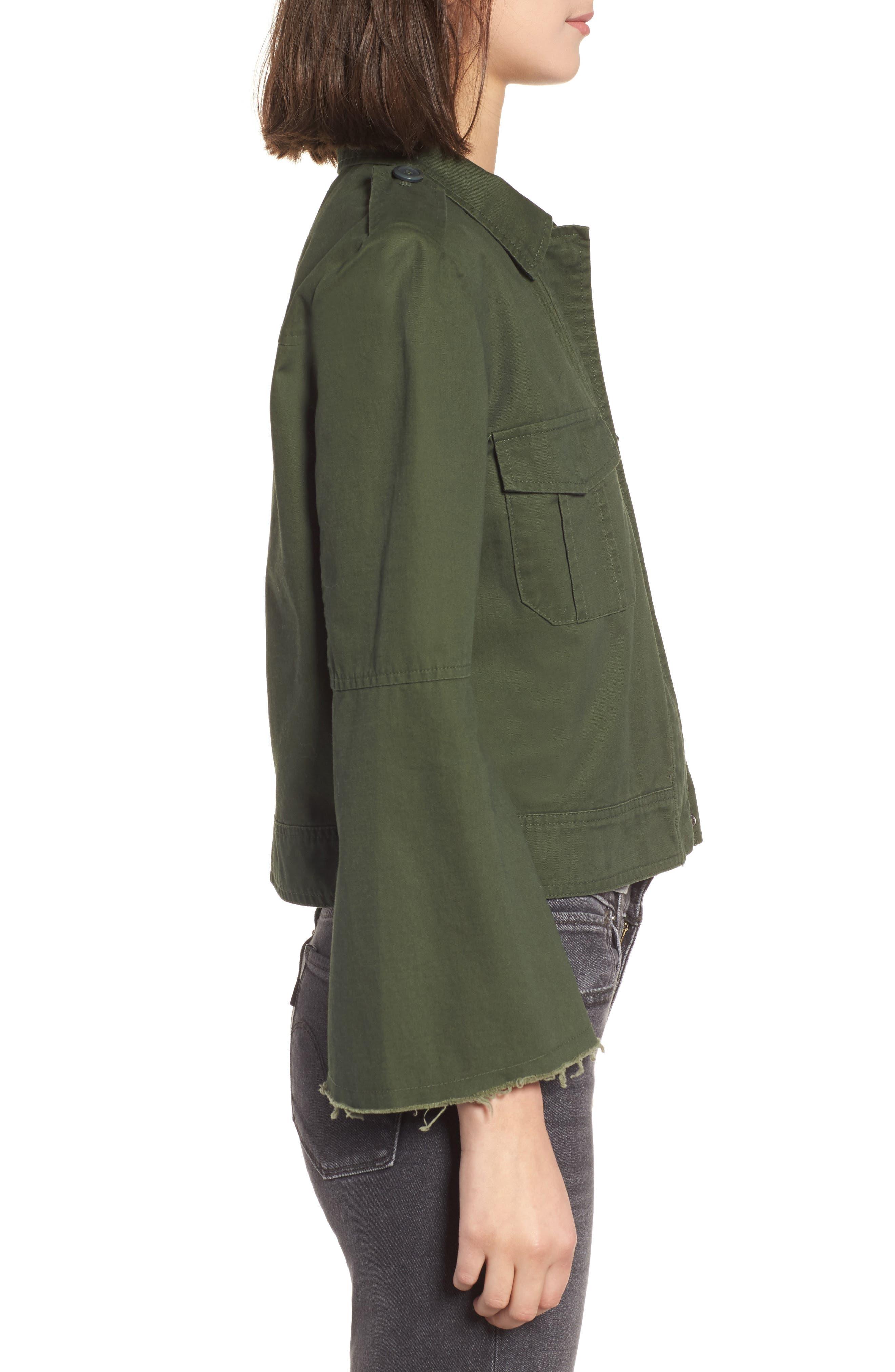 Jennie Cotton Twill Army Jacket,                             Alternate thumbnail 3, color,                             301