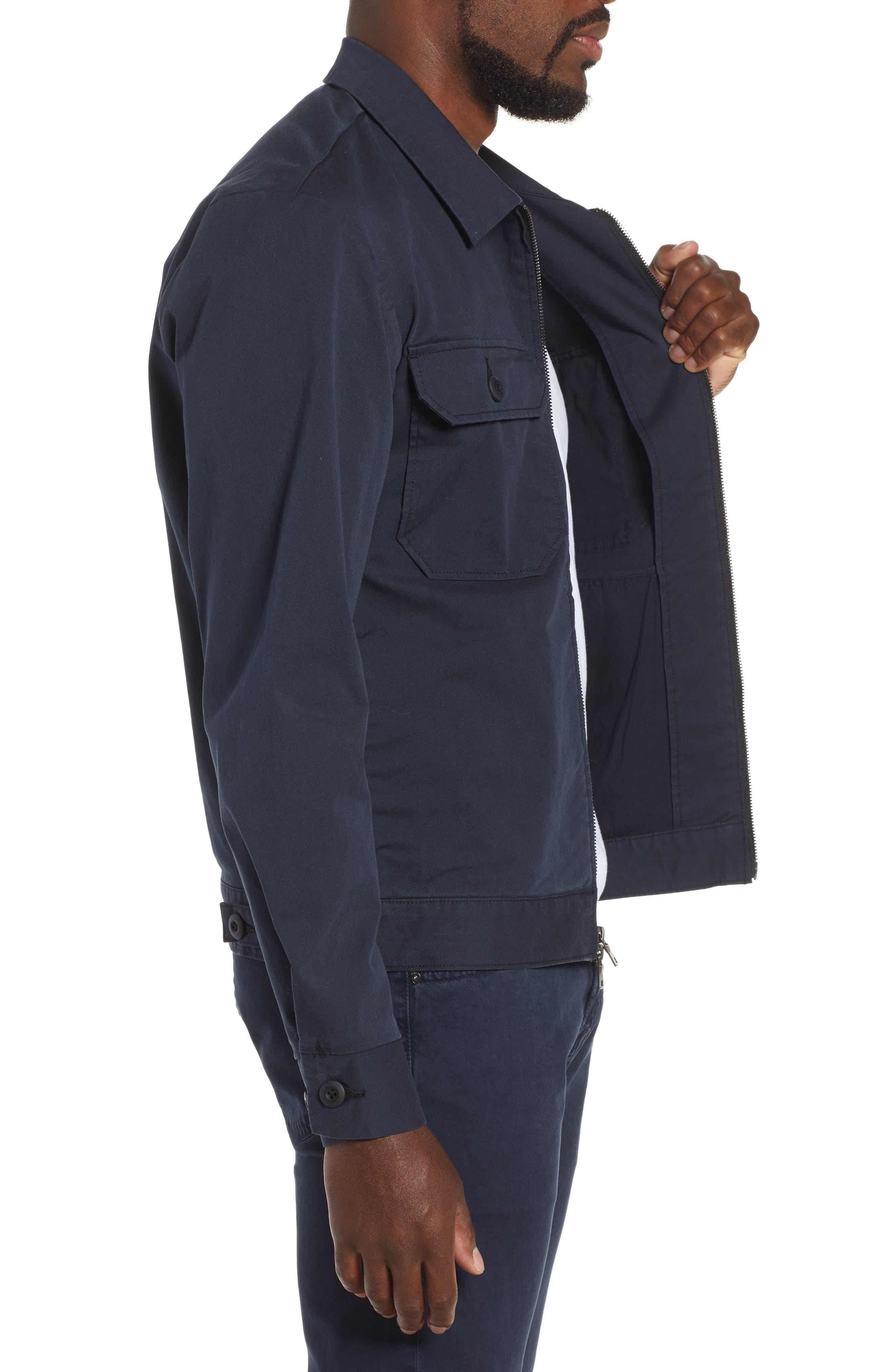 Axle Shop Regular Stretch Cotton Blend Jacket,                             Alternate thumbnail 3, color,                             BLUE VAULT/ BLACK