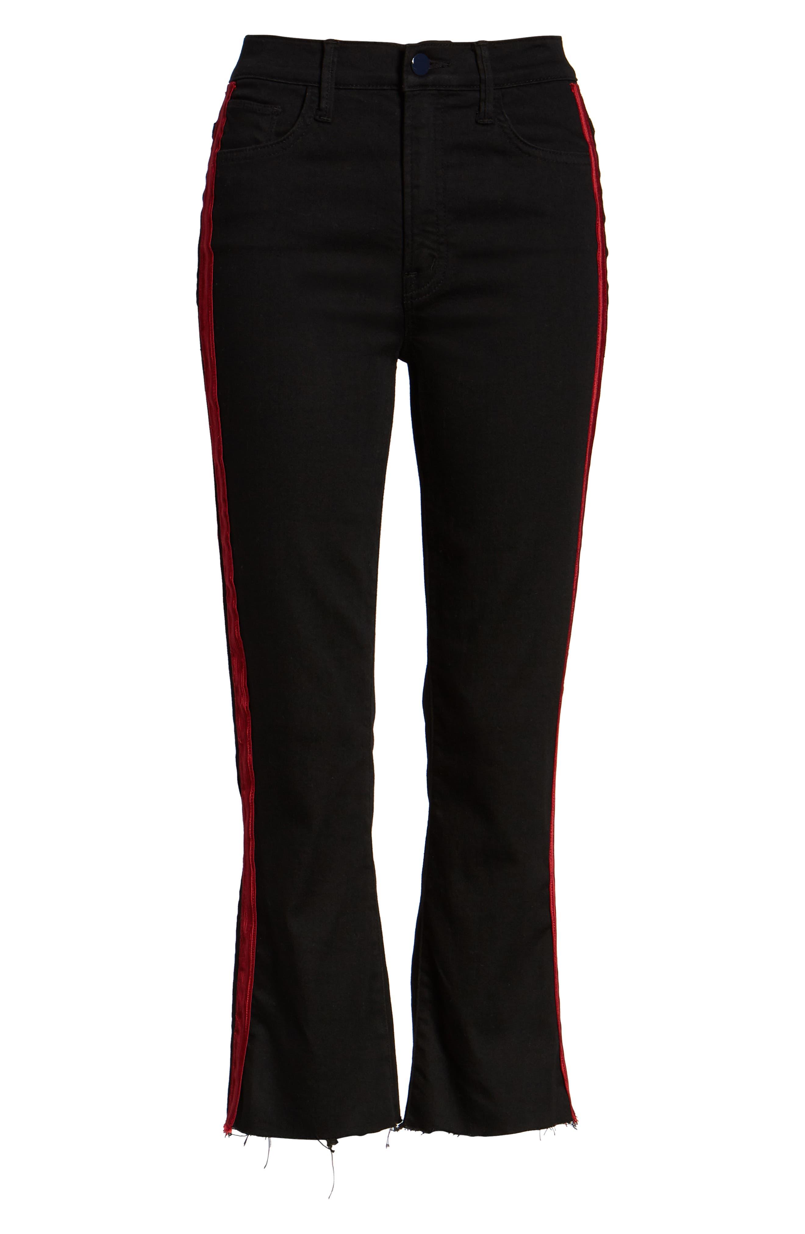 Side Stripe Crop Jeans,                             Alternate thumbnail 7, color,                             BLACK