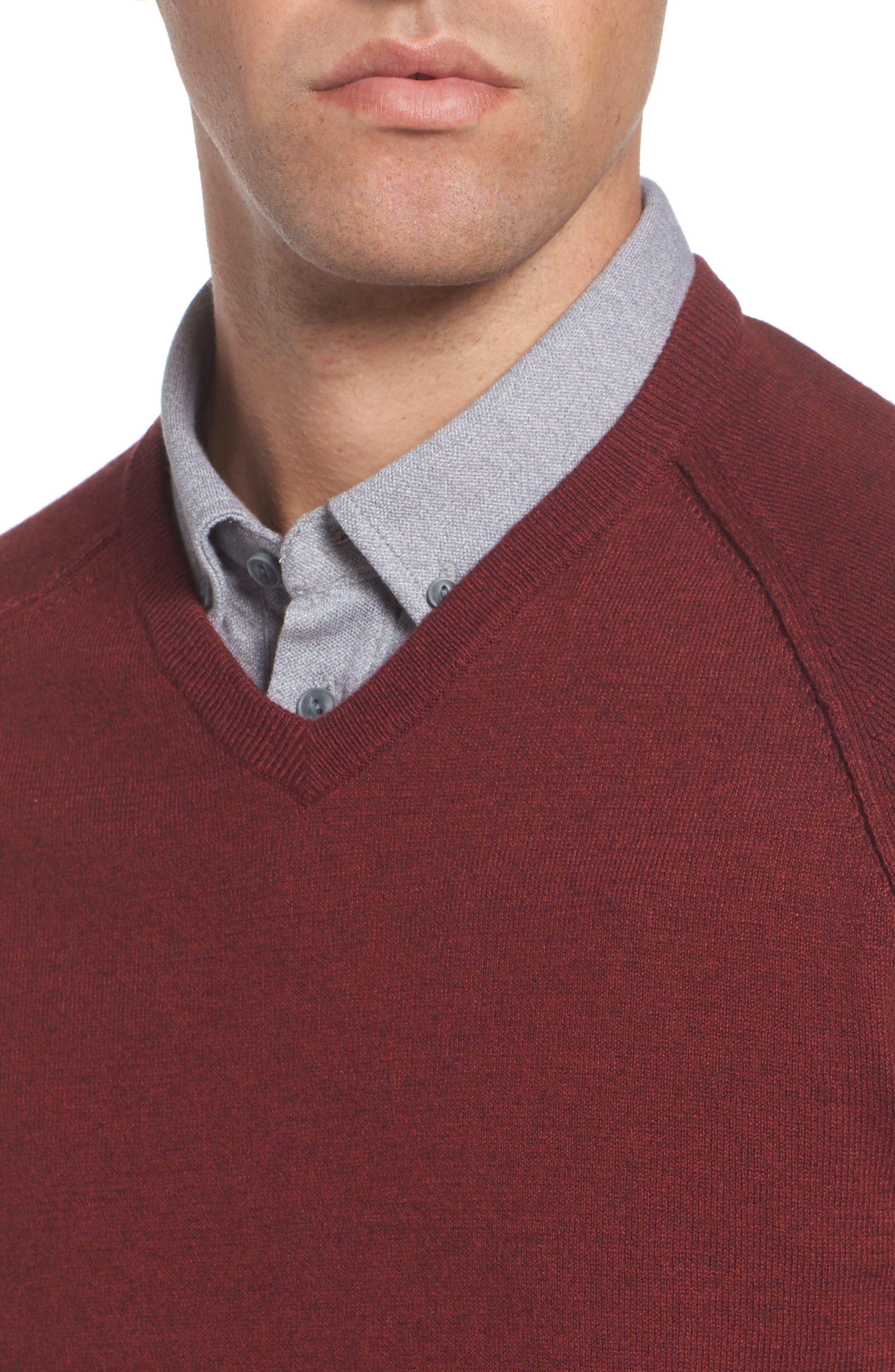 Saddle Shoulder Cotton & Cashmere V-Neck Sweater,                             Alternate thumbnail 32, color,